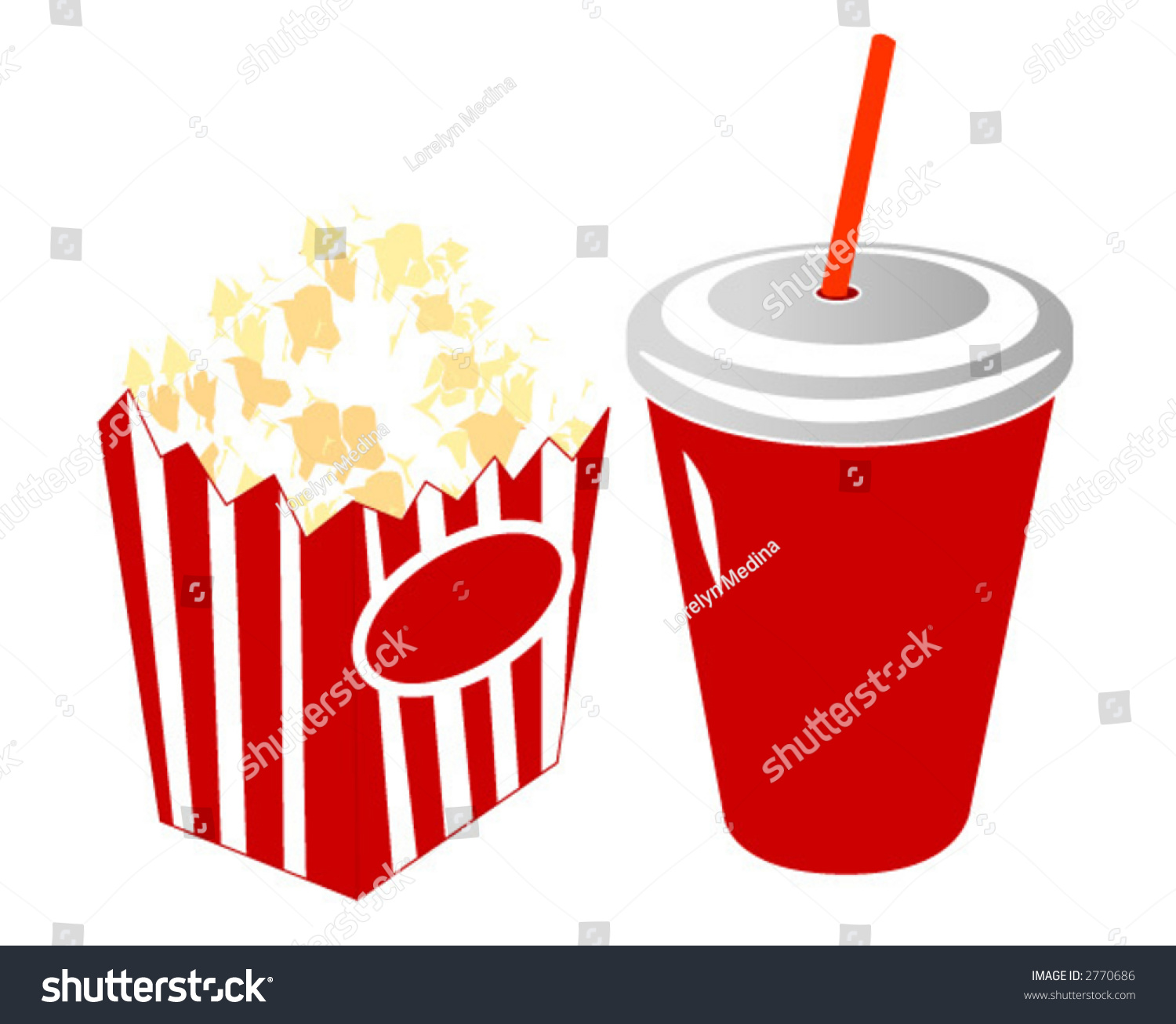 Movie Popcorn Soda Stock Vector 2770686 - Shutterstock