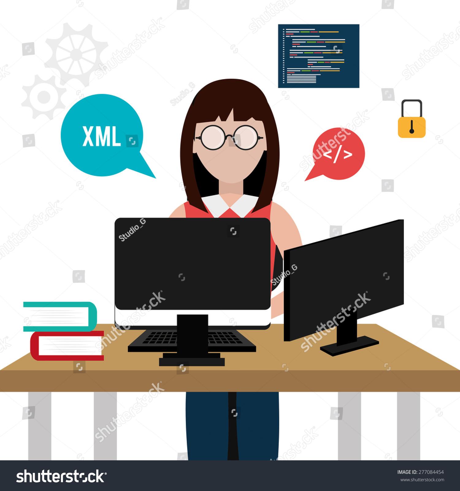 Software Design Over White Background Vector Stock Vector