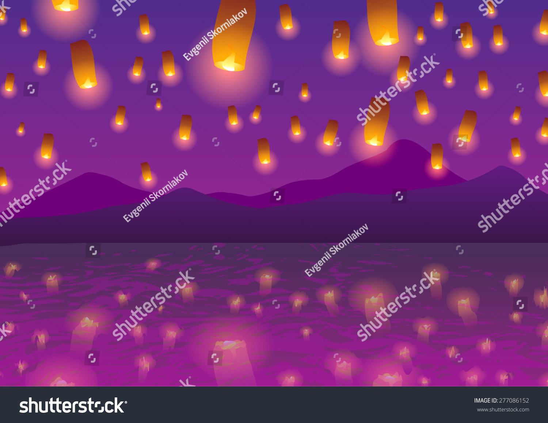 Sky Lanterns Sunset Over Water Stock Illustration 277086152 ... for Sky Lanterns Over Water  104xkb