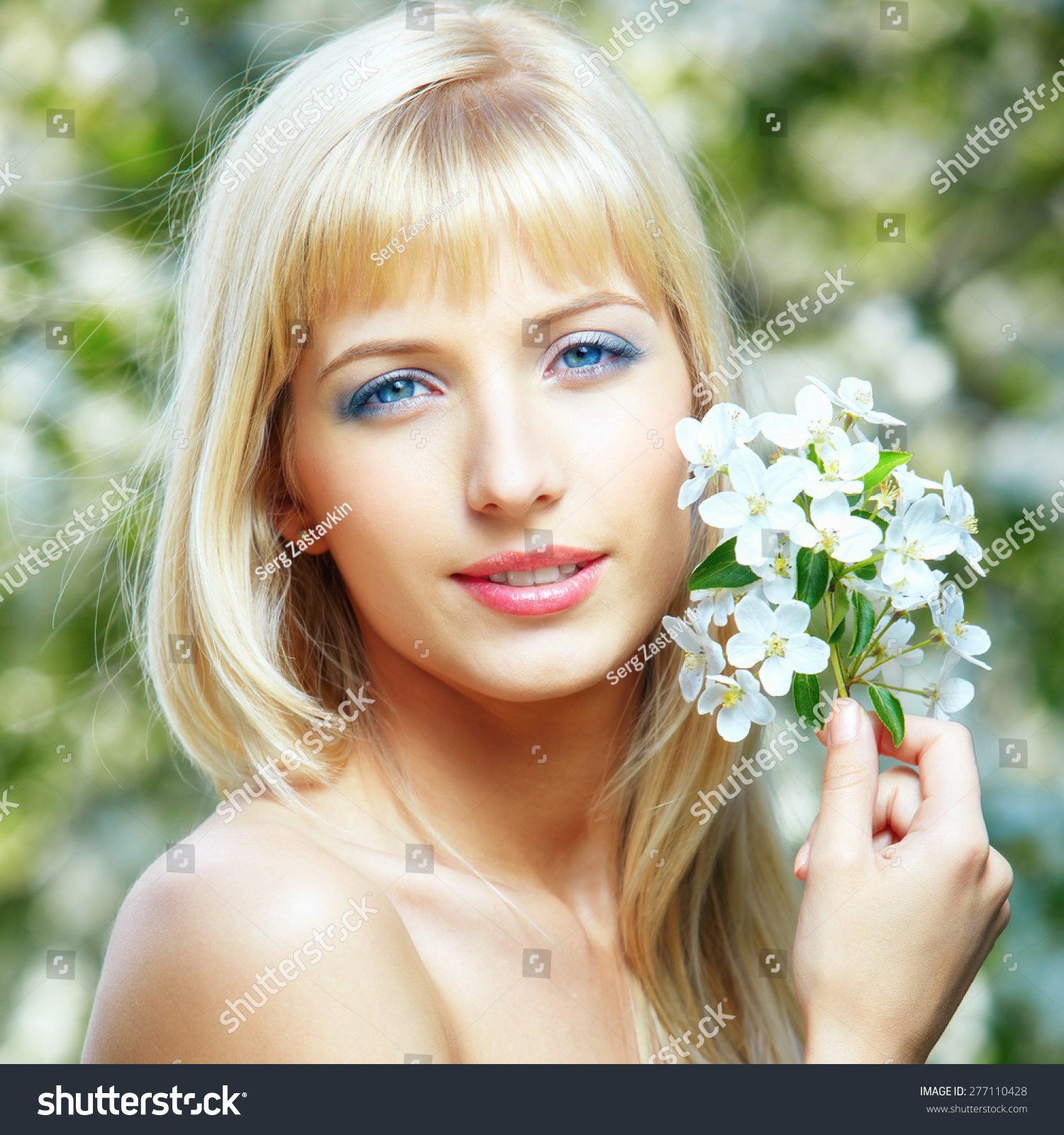 Happy Young Beautiful Blueeyed Blonde Woman Stock Photo