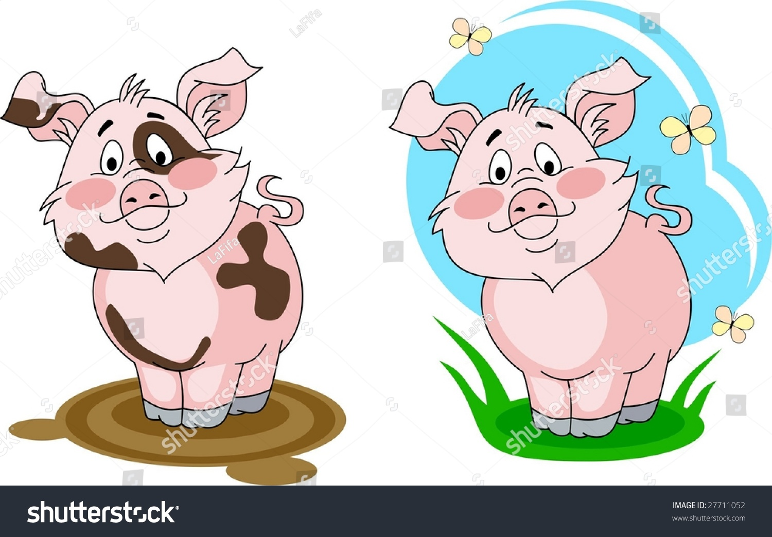 Dirty pigling and clean pigling stock vector illustration 27711052