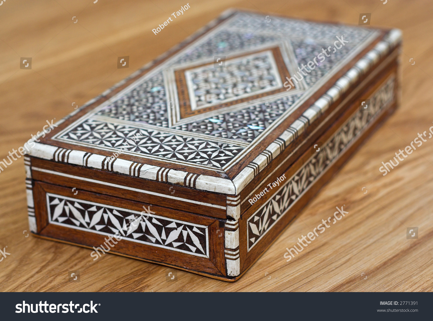 Inlaid Decorative Cigar Box On Wooden Stock Photo Edit Now 2771391 Circuit Board Vintage Table