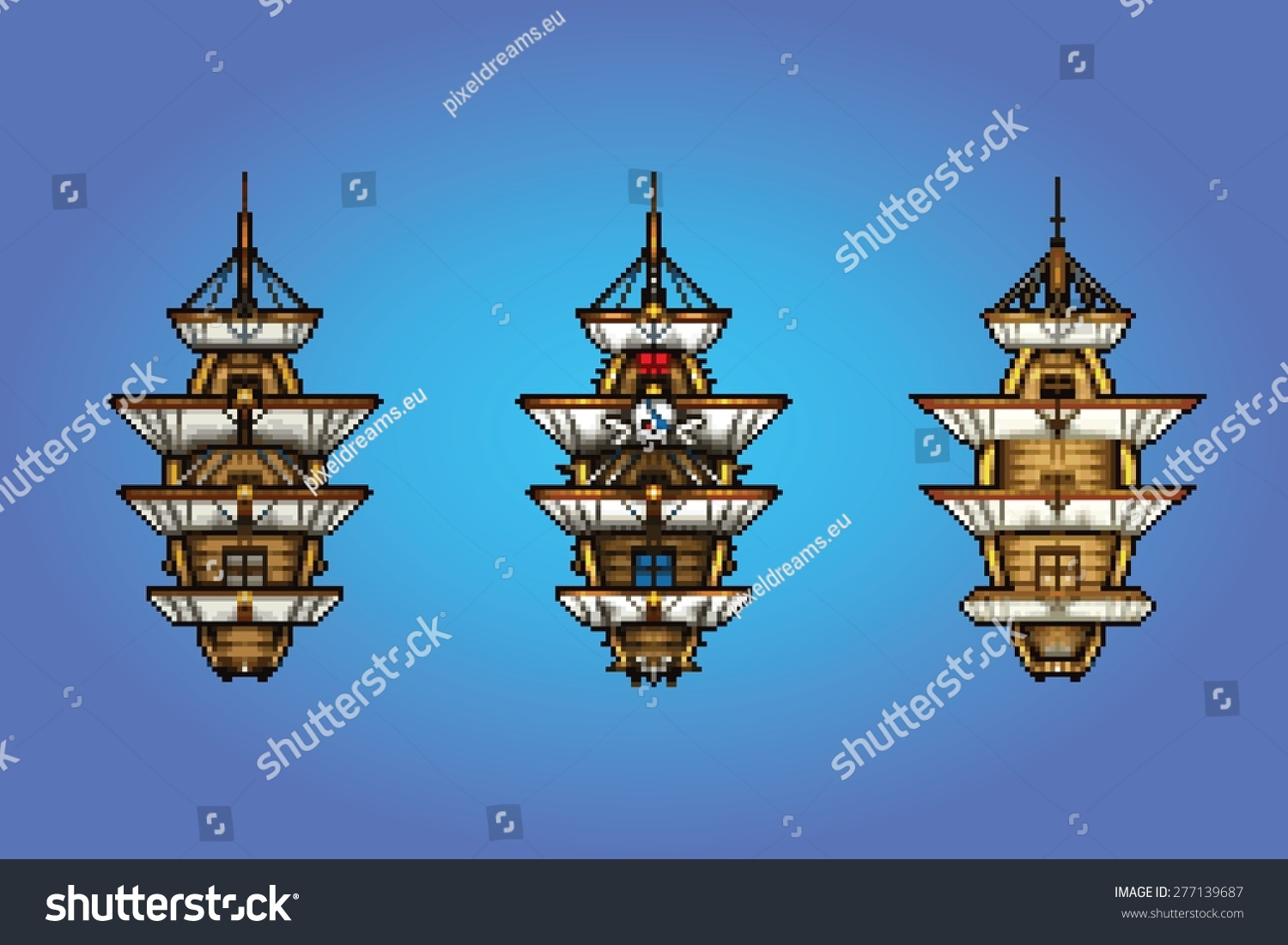 Pixel Art Style Pirate Ship Collection Stock Vector Royalty Free 277139687