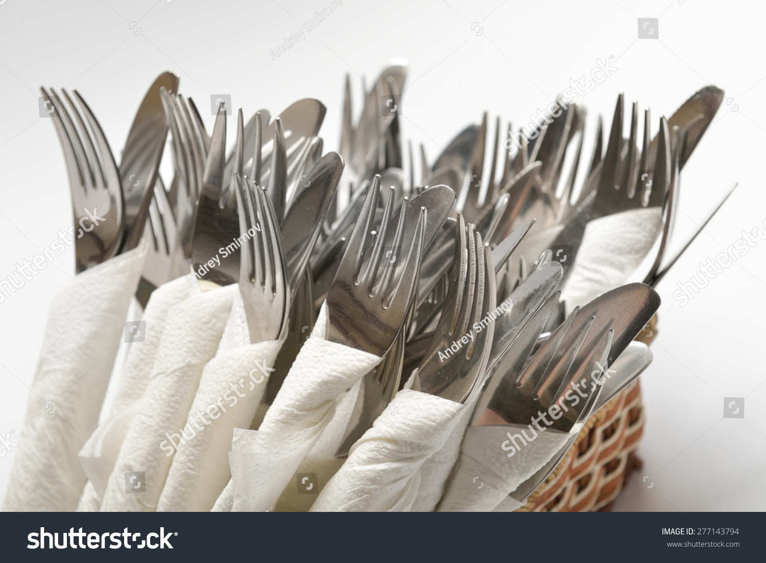 Forks Knives Wrapped Paper Napkins On Stock Photo Edit Now 277143794