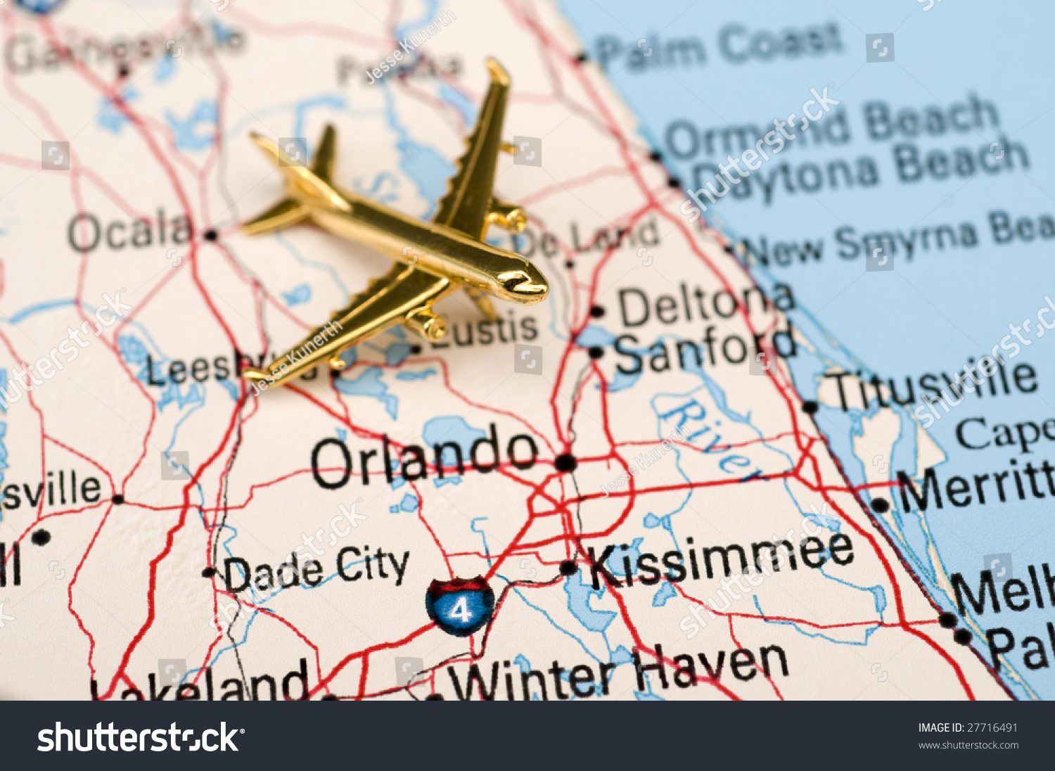 Map Central Florida.Golden Plane Over Central Florida This Stock Illustration Royalty