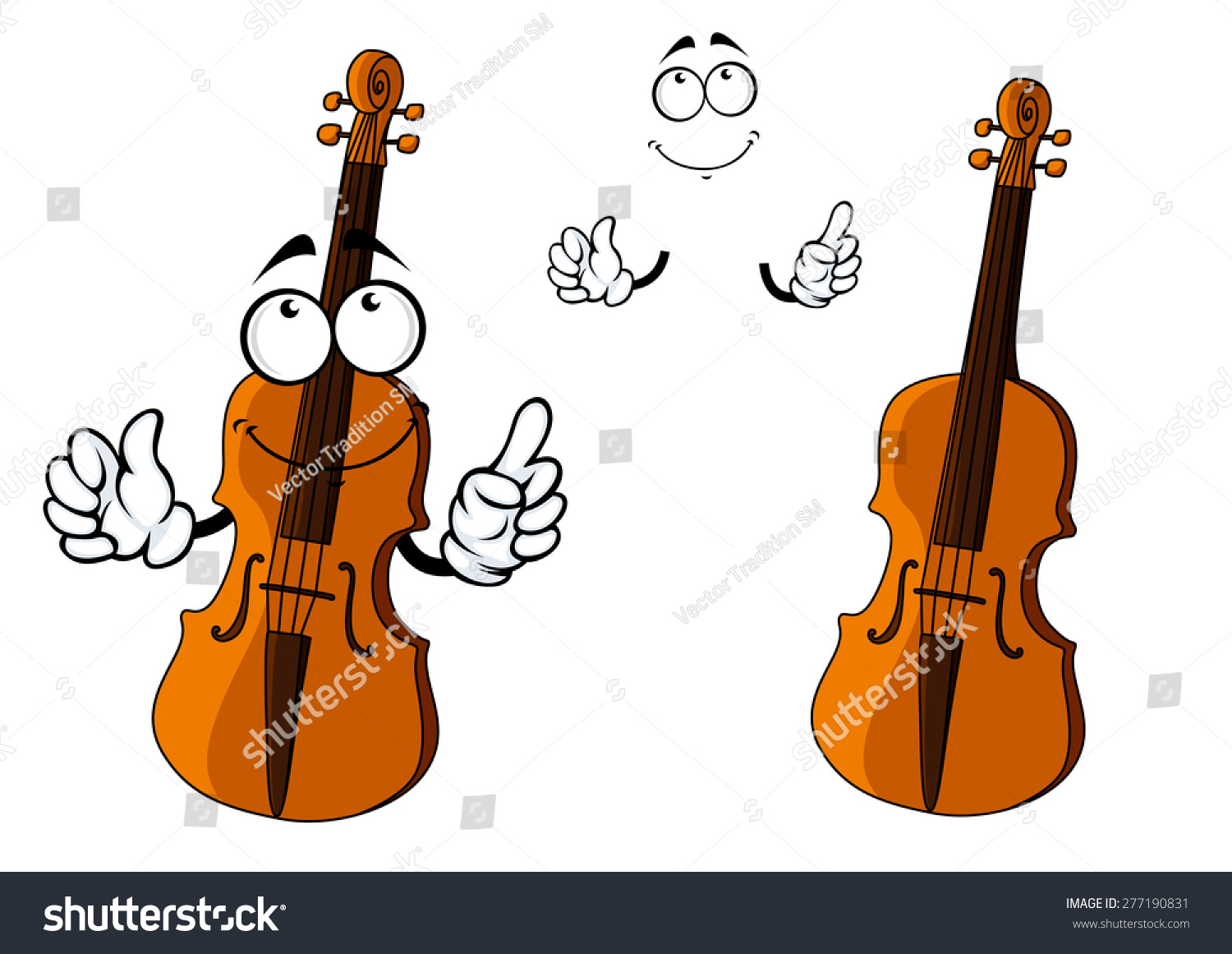 Cartoon Violin Images: Cartoon Brown Violin Instrument Character Happy Stock