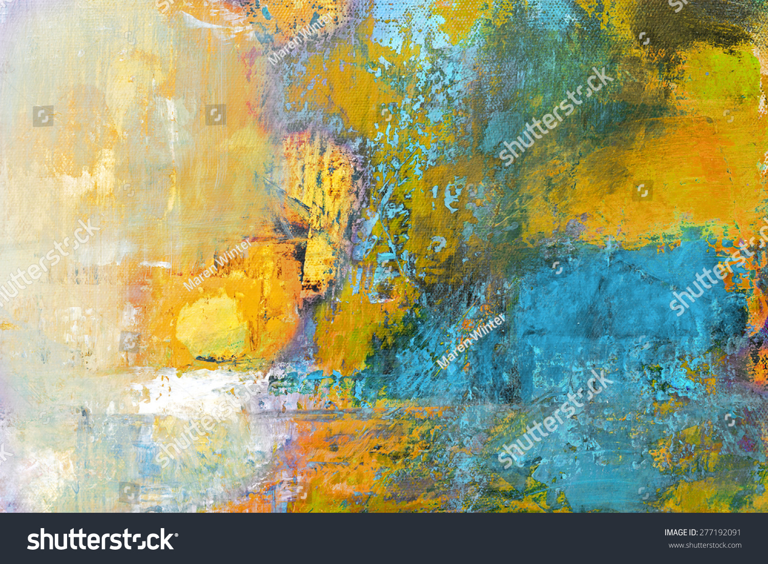 Background Abstract Sport Volleyball Blue Yellow Ball: Abstract Original Painting On Canvas Sun Stock