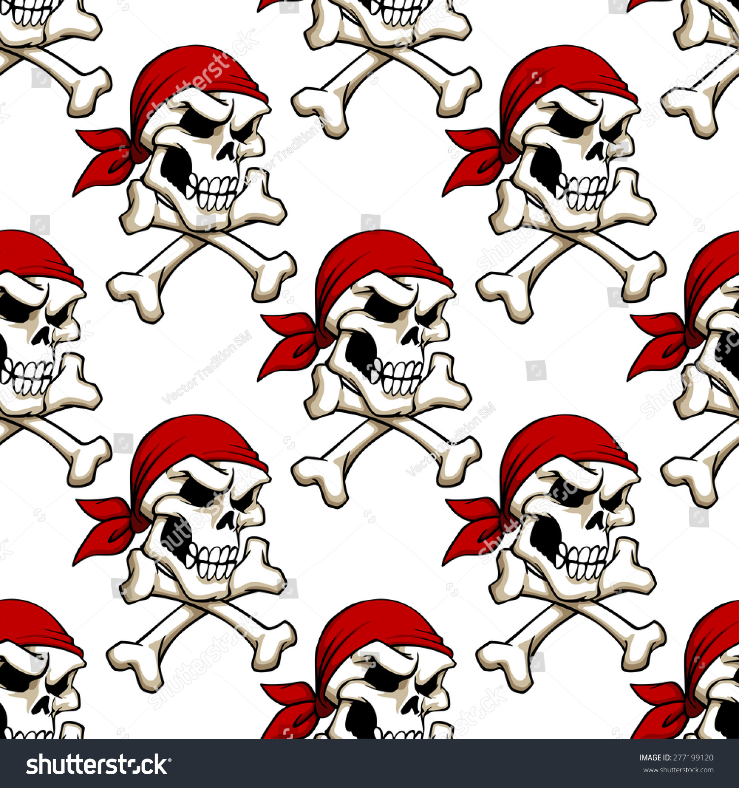 Pirate Skull With Crossbones In Red Bandana Seamless Pattern For Wallpaper Piracy Or Another Design