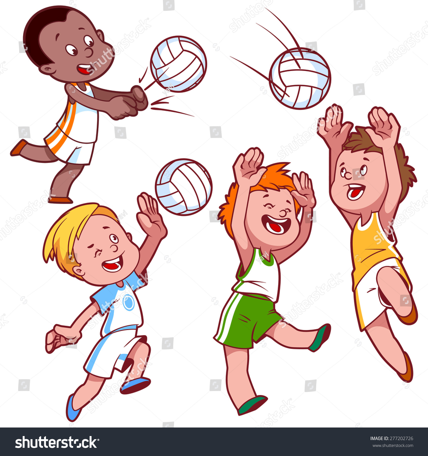 Cartoon Kids Playing Volleyball Vector Clip Stock Vector ...