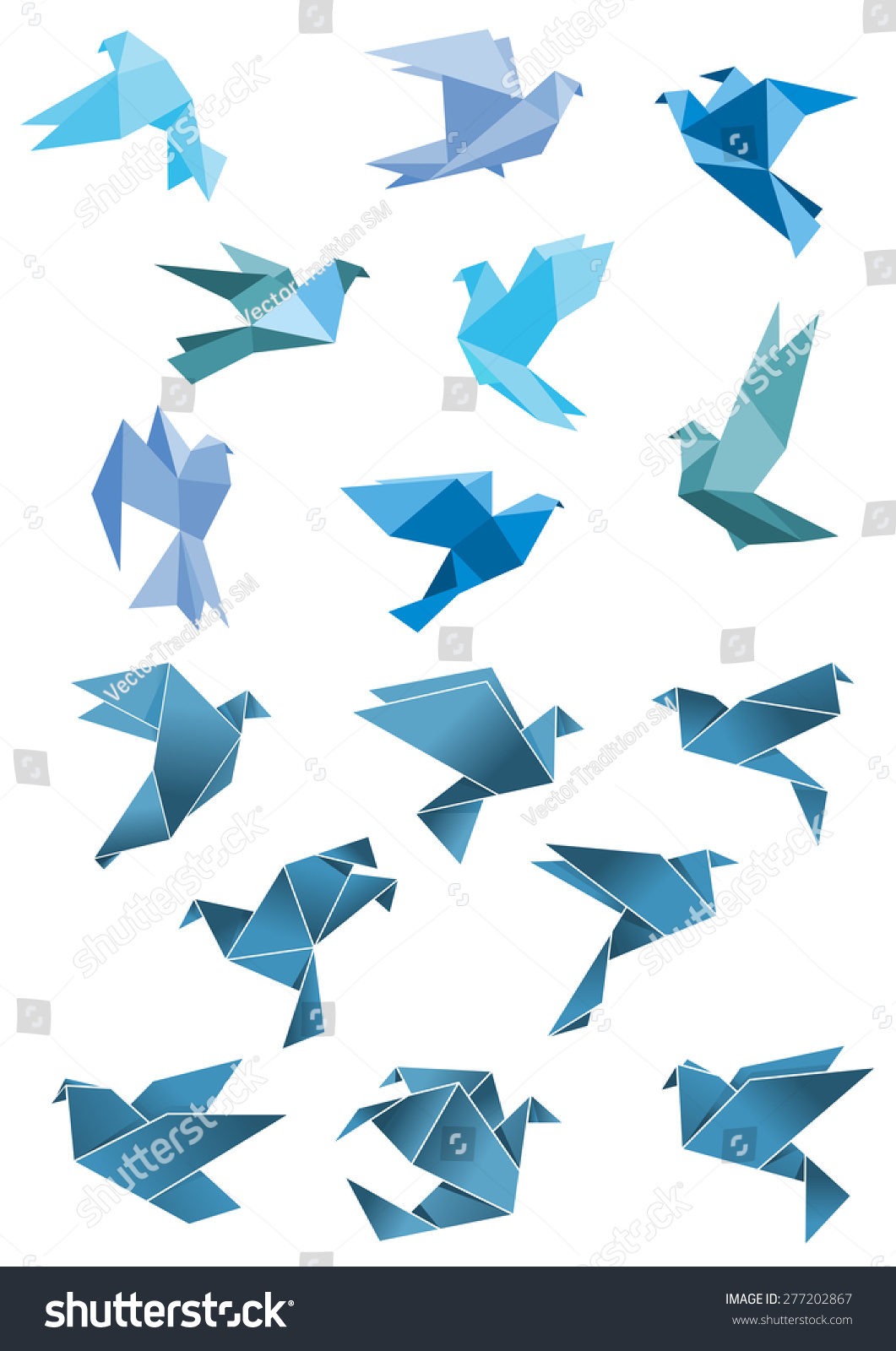 Origami Paper Stylized Blue Flying Pigeon And Dove Birds ... - photo#28