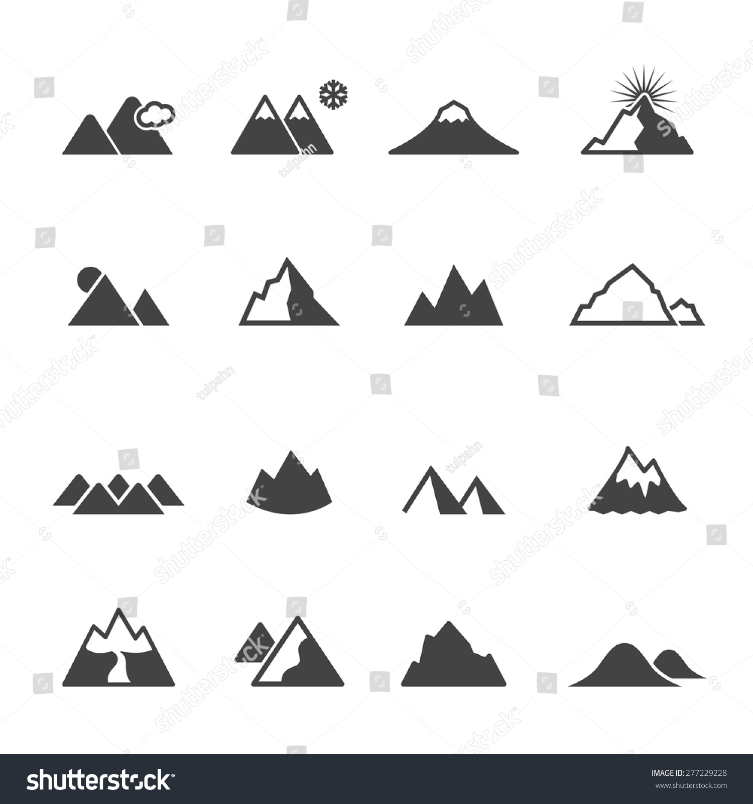 Mountain Icons Mono Vector Symbols Stock Vector 277229228 ...