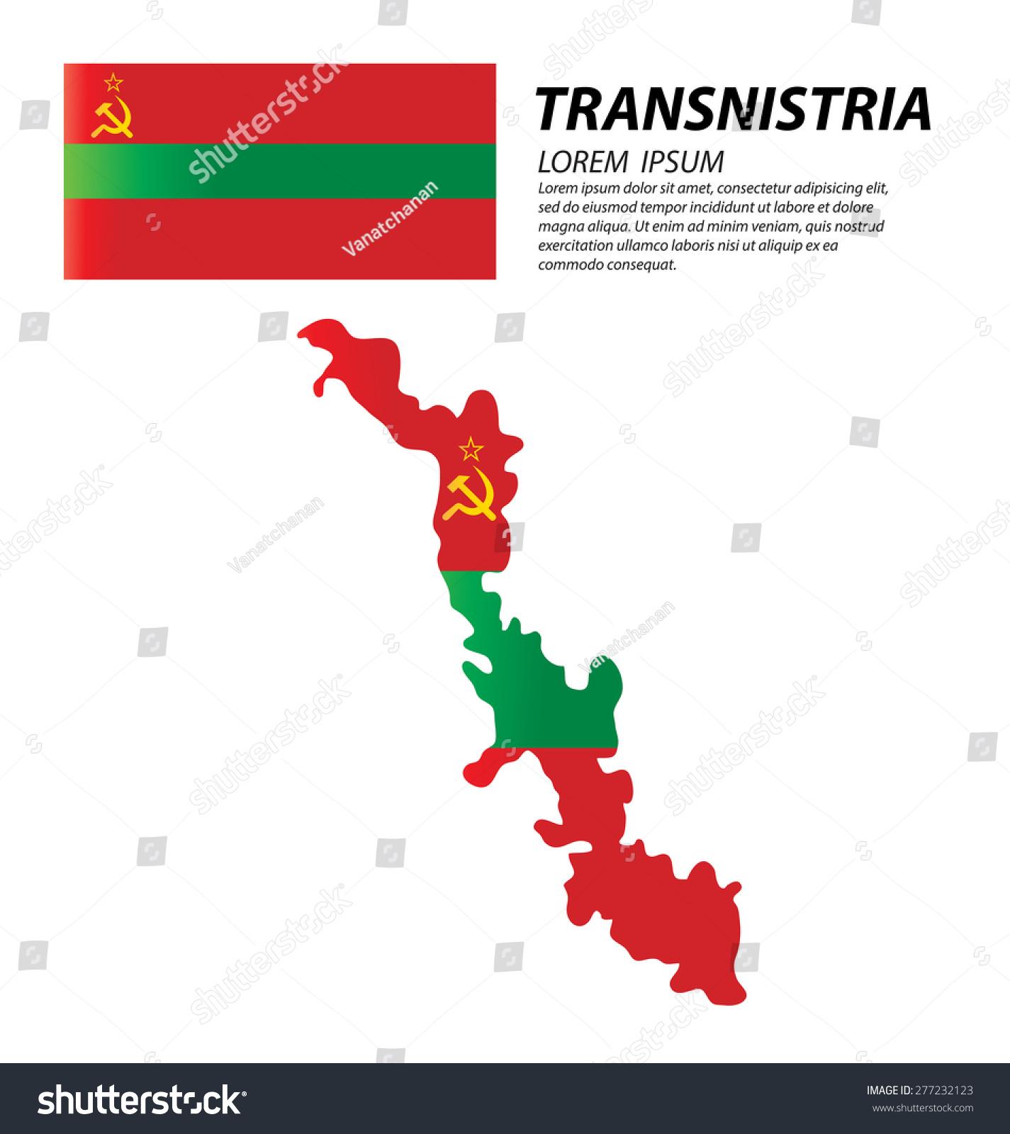 Transnistria Pridnestrovian Moldavian Republic Flag World Stock - Transnistria map