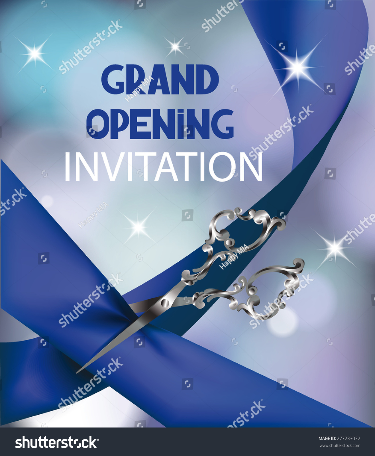 Grand Opening Invitation Card With Silk Blue Ribbon And ...