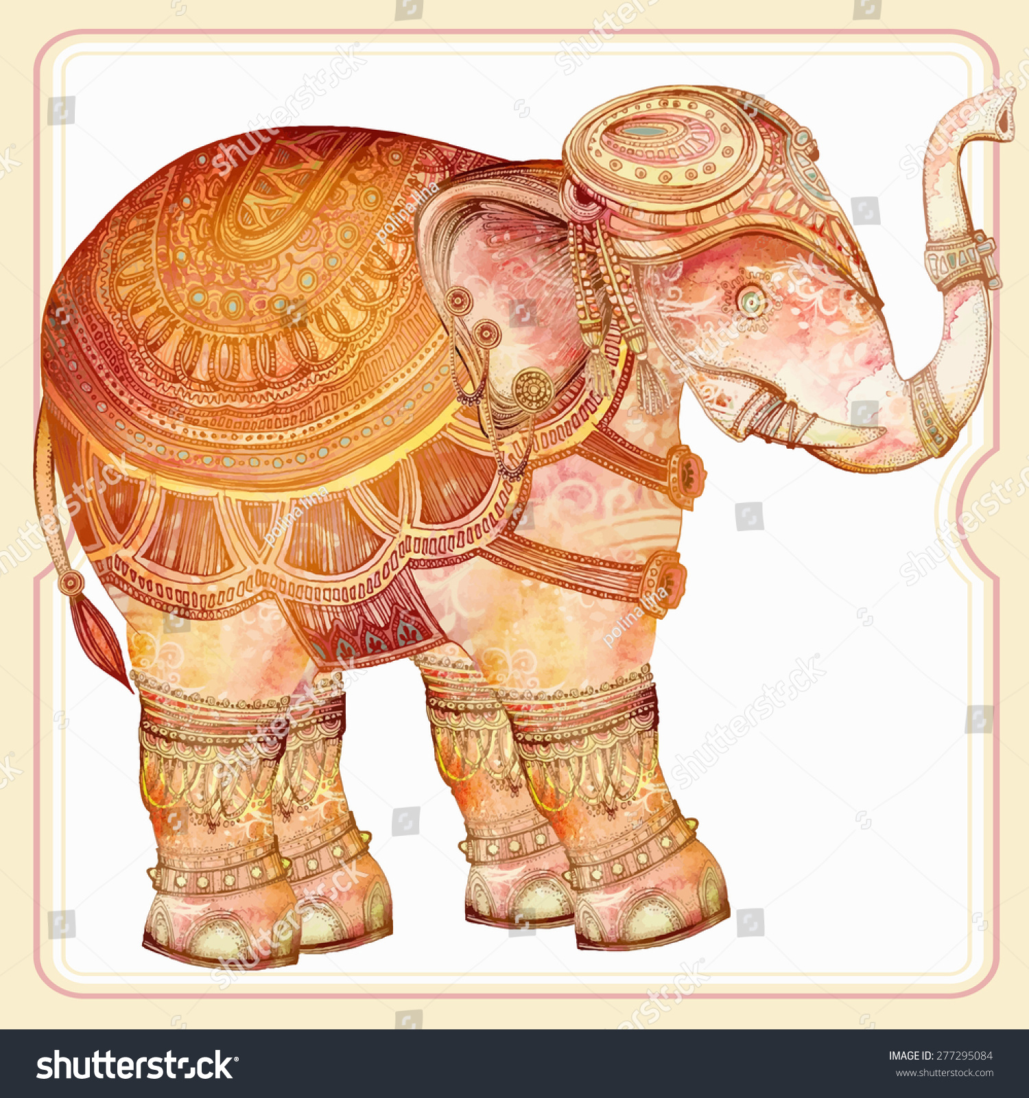 Vintage Elephant Illustration.Hand Draw Painted Ornament ... Vintage Elephant Illustration