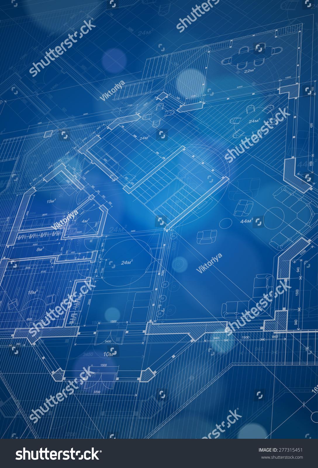 Architecture Design Blueprint House Plan Blue Technology Background