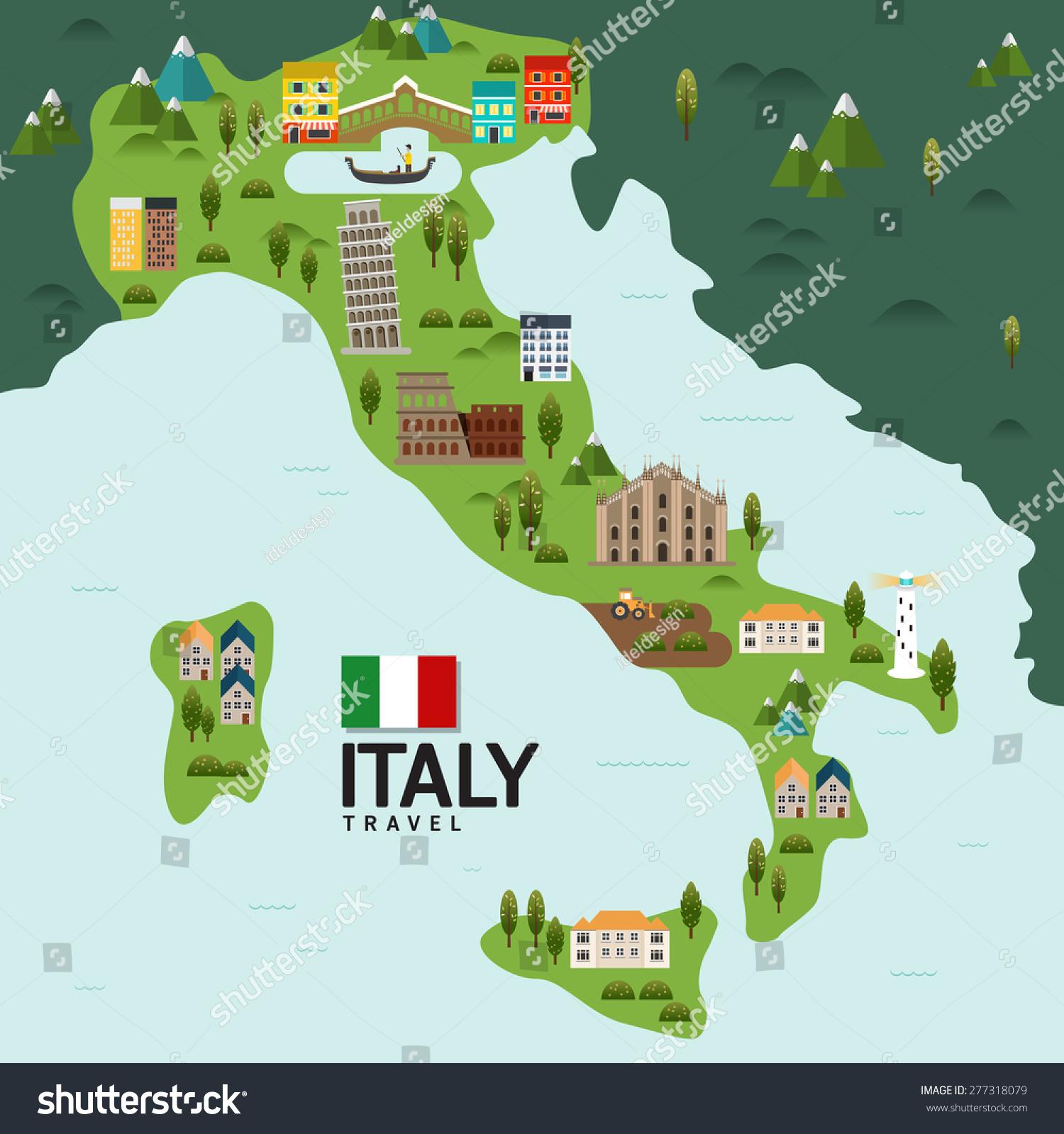 Design Italy Milan Rome Travel Landmark Stock Vector