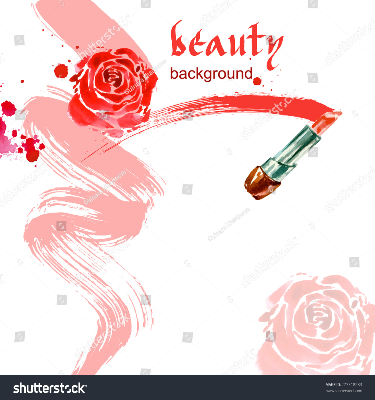 lipstick watercolor beauty and cosmetics background