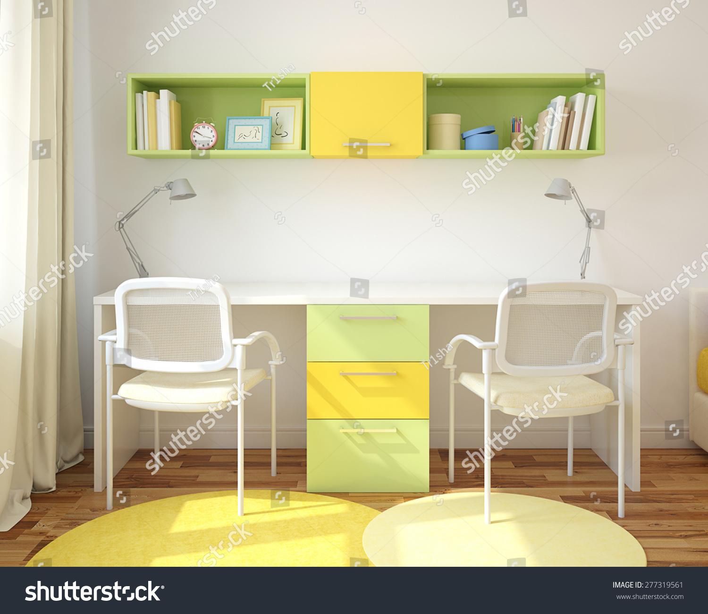 modern home office for two children 3d render