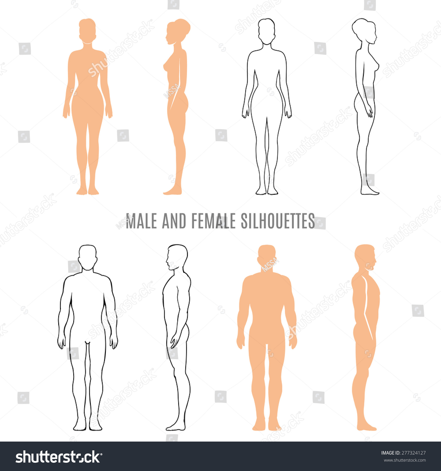 Male Female Silhouettes Human Man Woman Stock Illustration ...