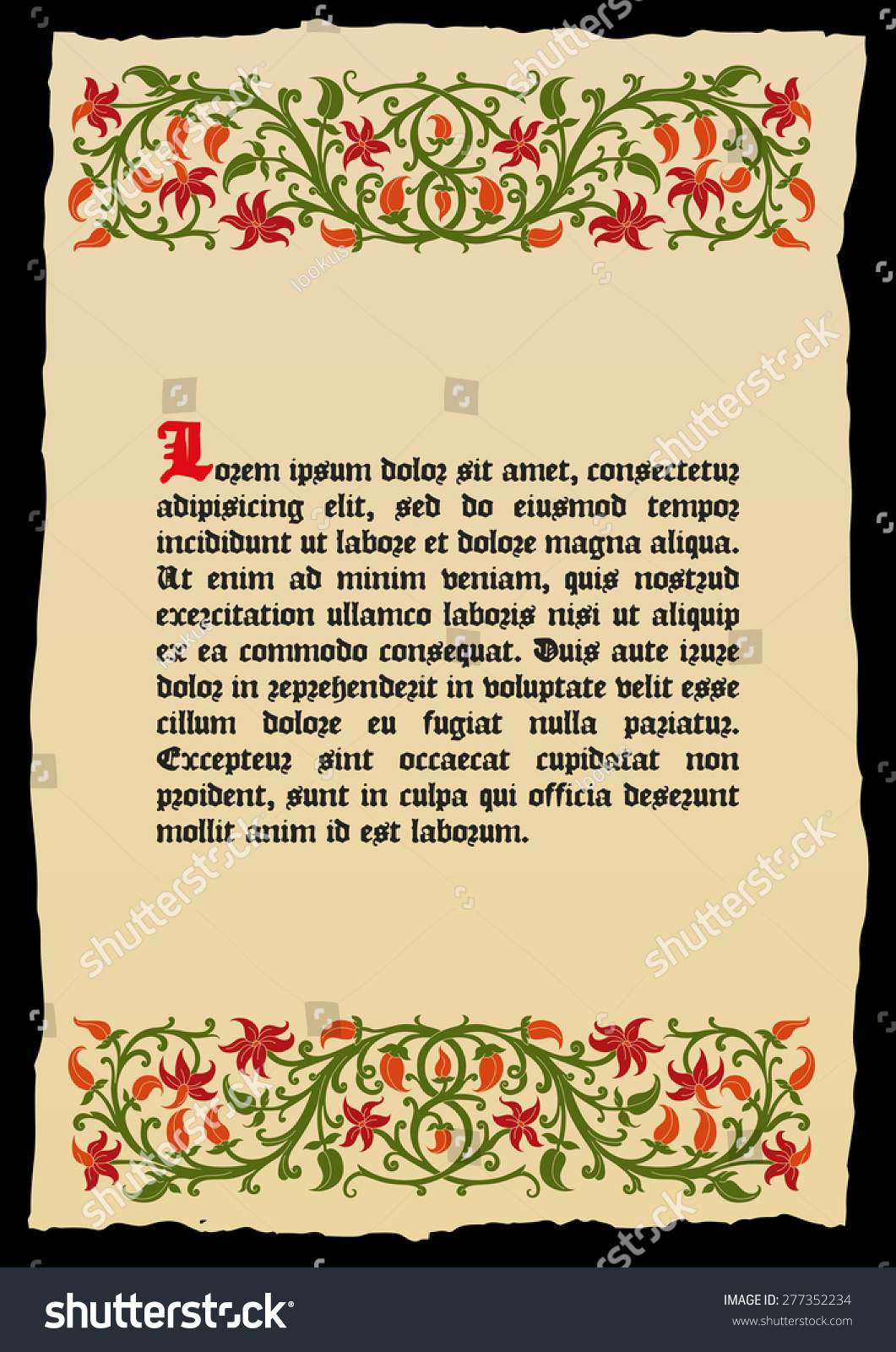 Template book page in a medieval style. Place for text. Floral frame of  interwoven