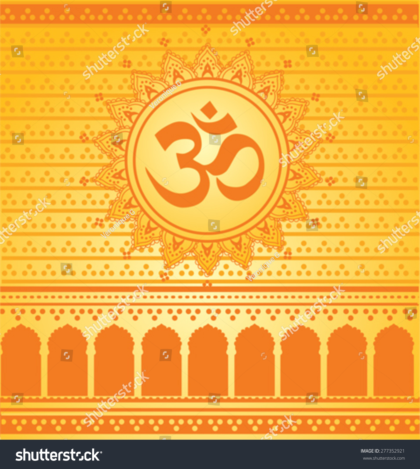 Bright yellow orange indian hindu temple stock vector 277352921 bright yellow and orange indian hindu temple background with aum symbol inside henna mandala biocorpaavc Gallery