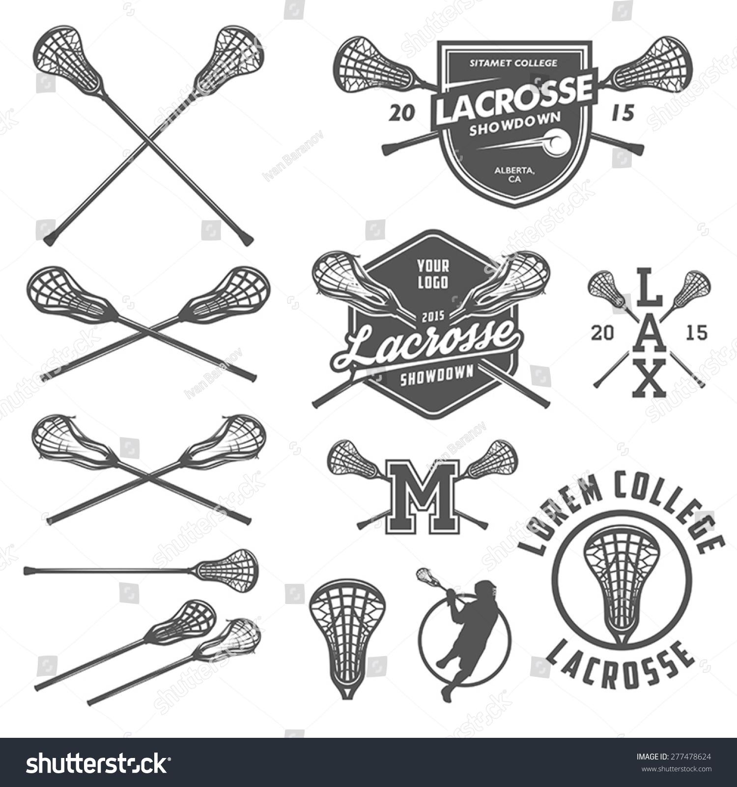 Set Lacrosse Design Elements Stock Vector (Royalty Free) 277478624 ...