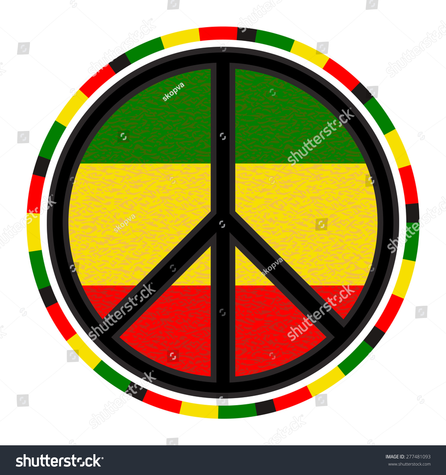 Peace sign round emblem on background stock vector 277481093 peace sign round emblem on background of rasta flag colors vector isolated symbol biocorpaavc Image collections