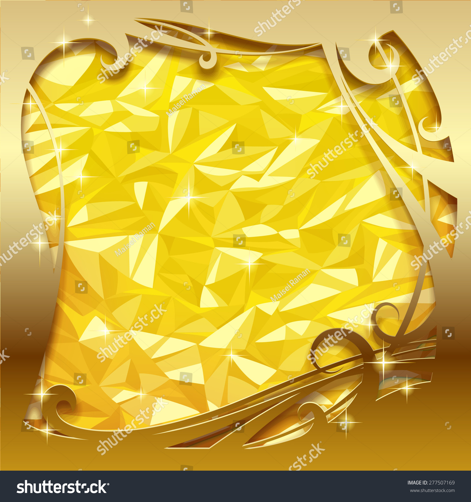 Square Greeting Card Poster Gold Foil Stock Vector 277507169