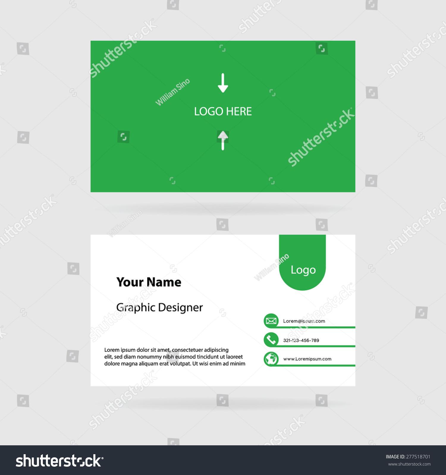 Simple Modern Green Business Card Template Stock Vector 277518701 ...