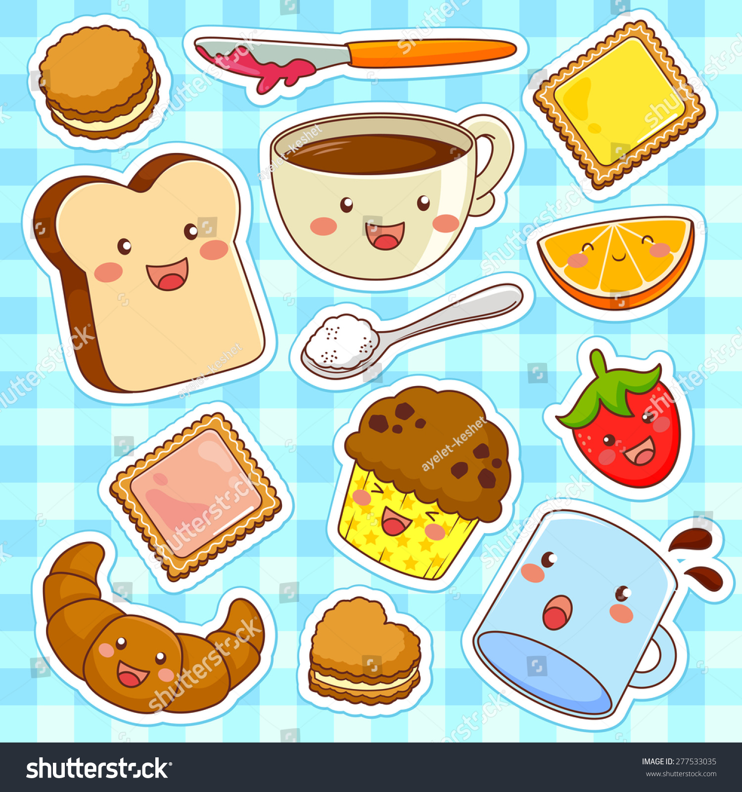 Cute kawaii style cartoon foods stock illustration 277533035 shutterstock - Stylish cooking ...