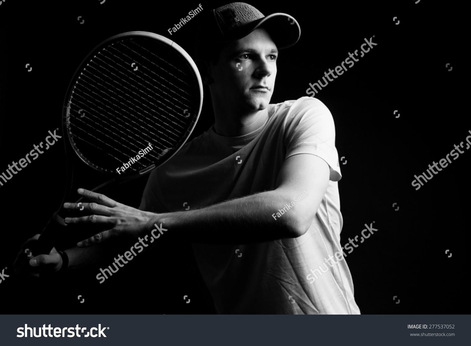 Tennis Player On Black Background Studio Stock Photo Edit Now