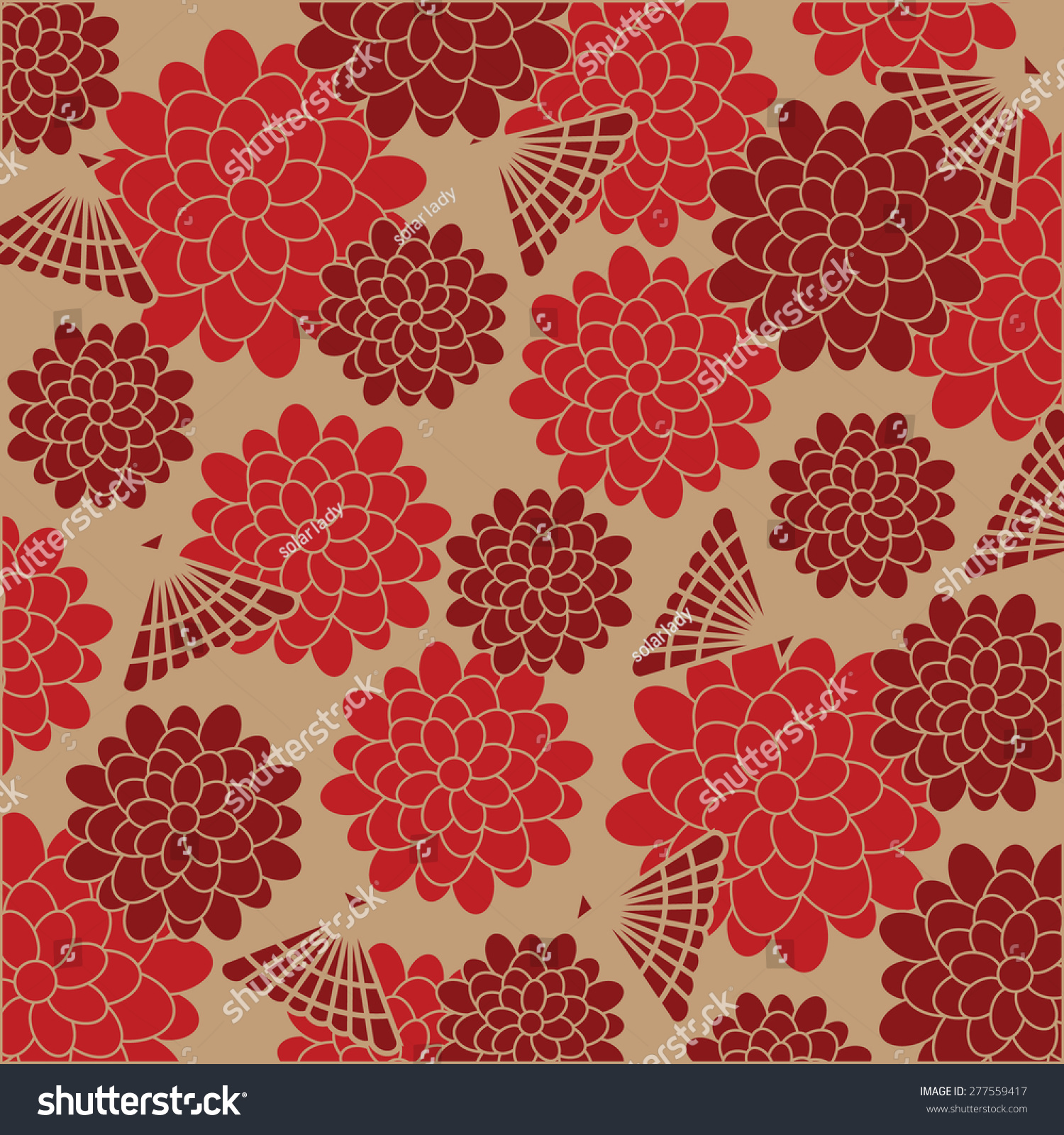 Japanese Floral Background Vector Illustration Stock Vector
