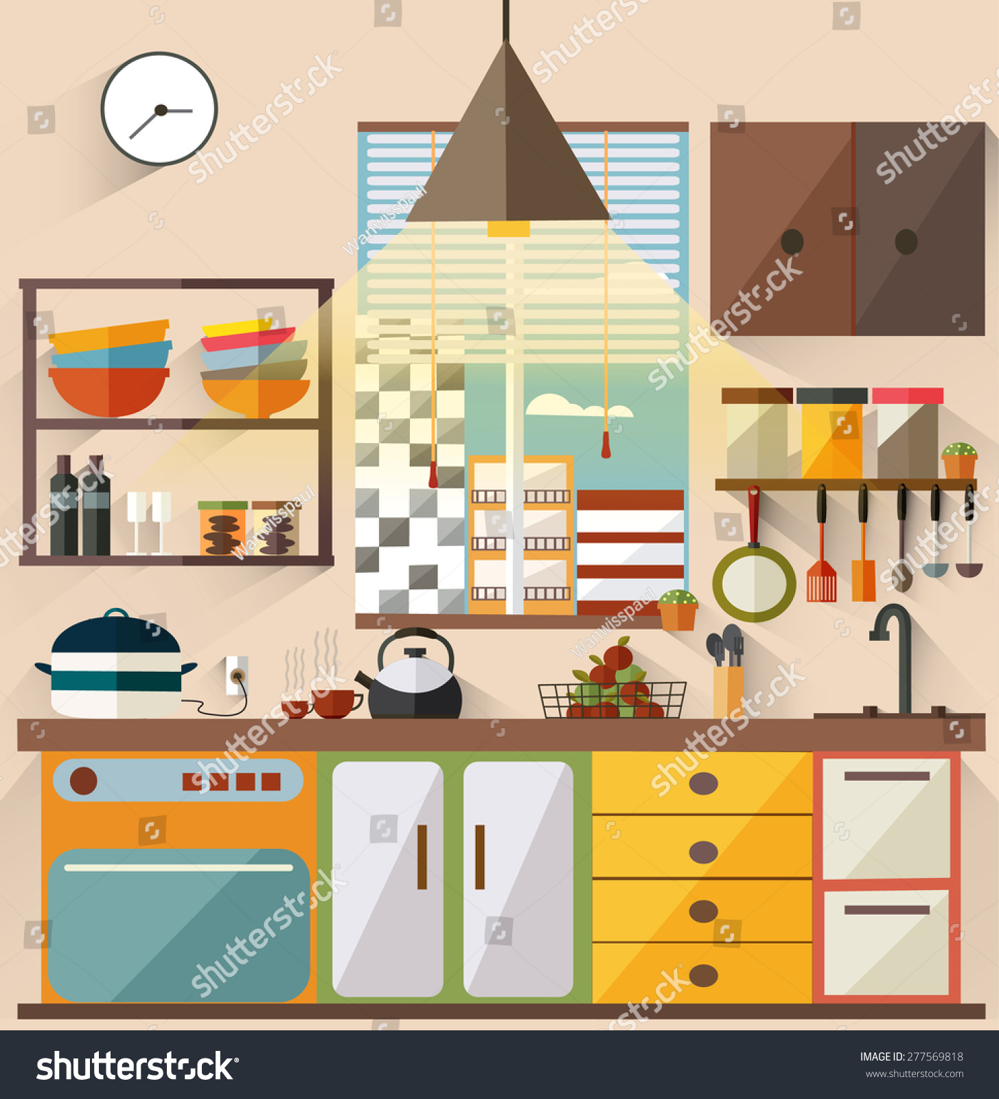 Flat Modern Kitchen Interior Design City Stock Vector