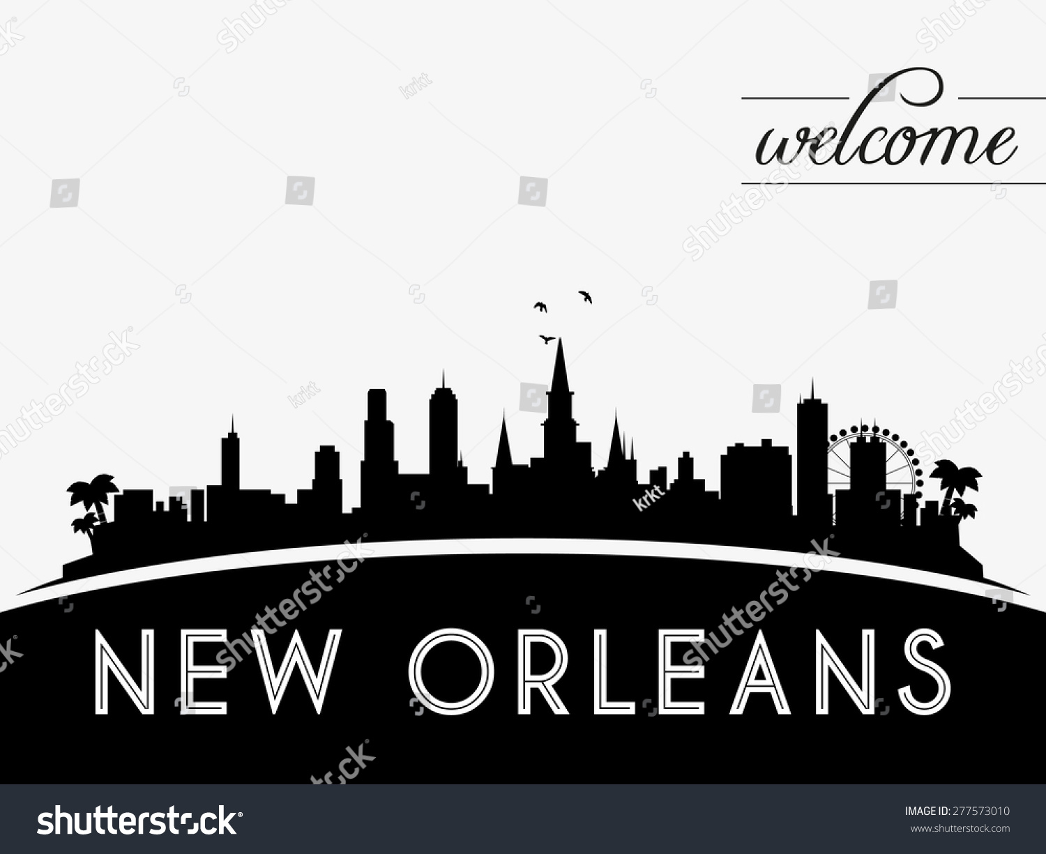 New Orleans Usa Skyline Silhouette Black Stock Vector ...