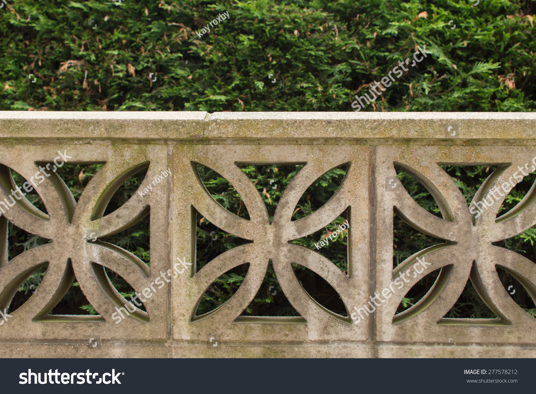 Garden Wall Built Decorative Concrete Blocks Stock Photo 277578212