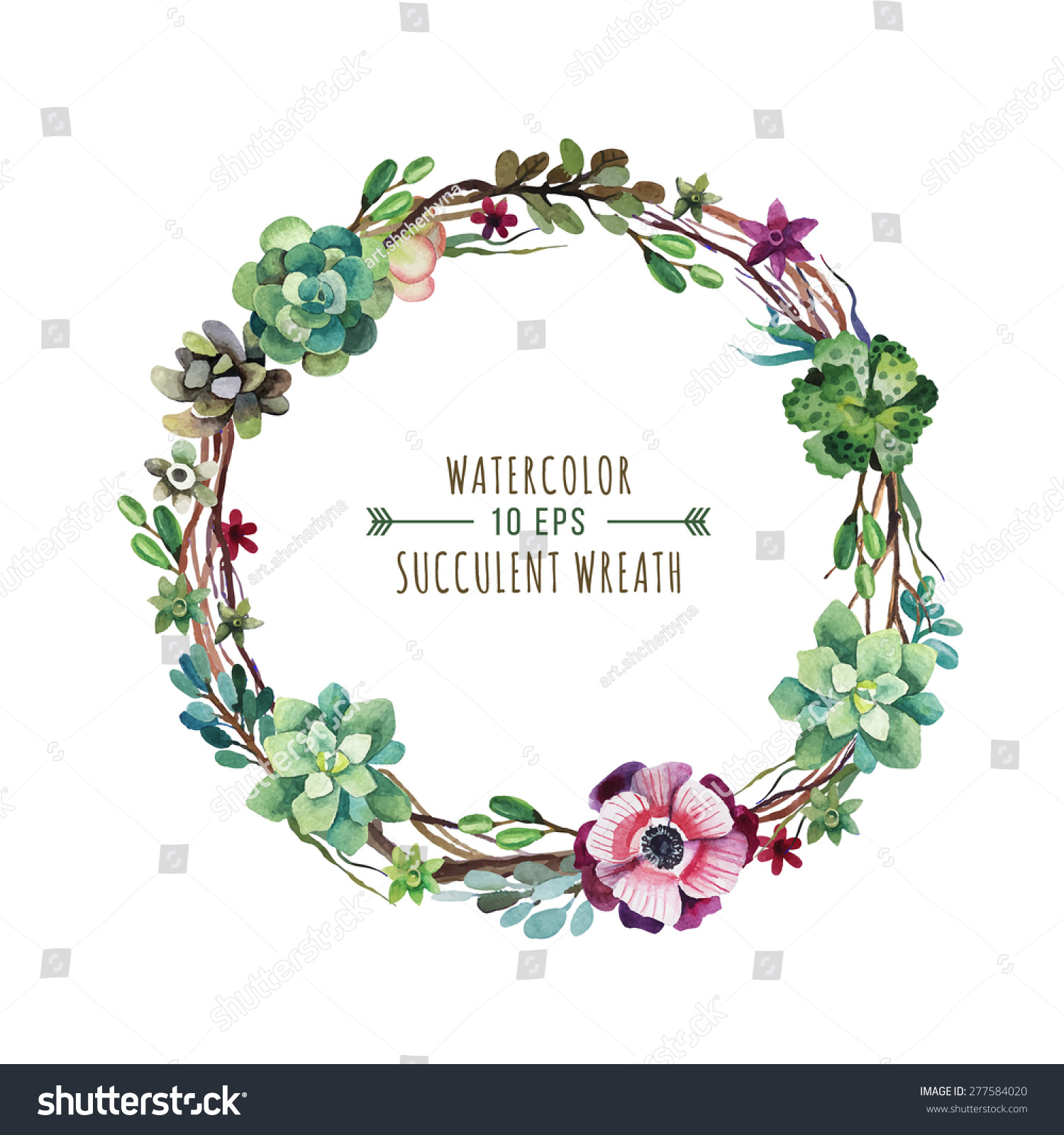 Vector Flower Wreath Succulents Watercolor Style Stock ...