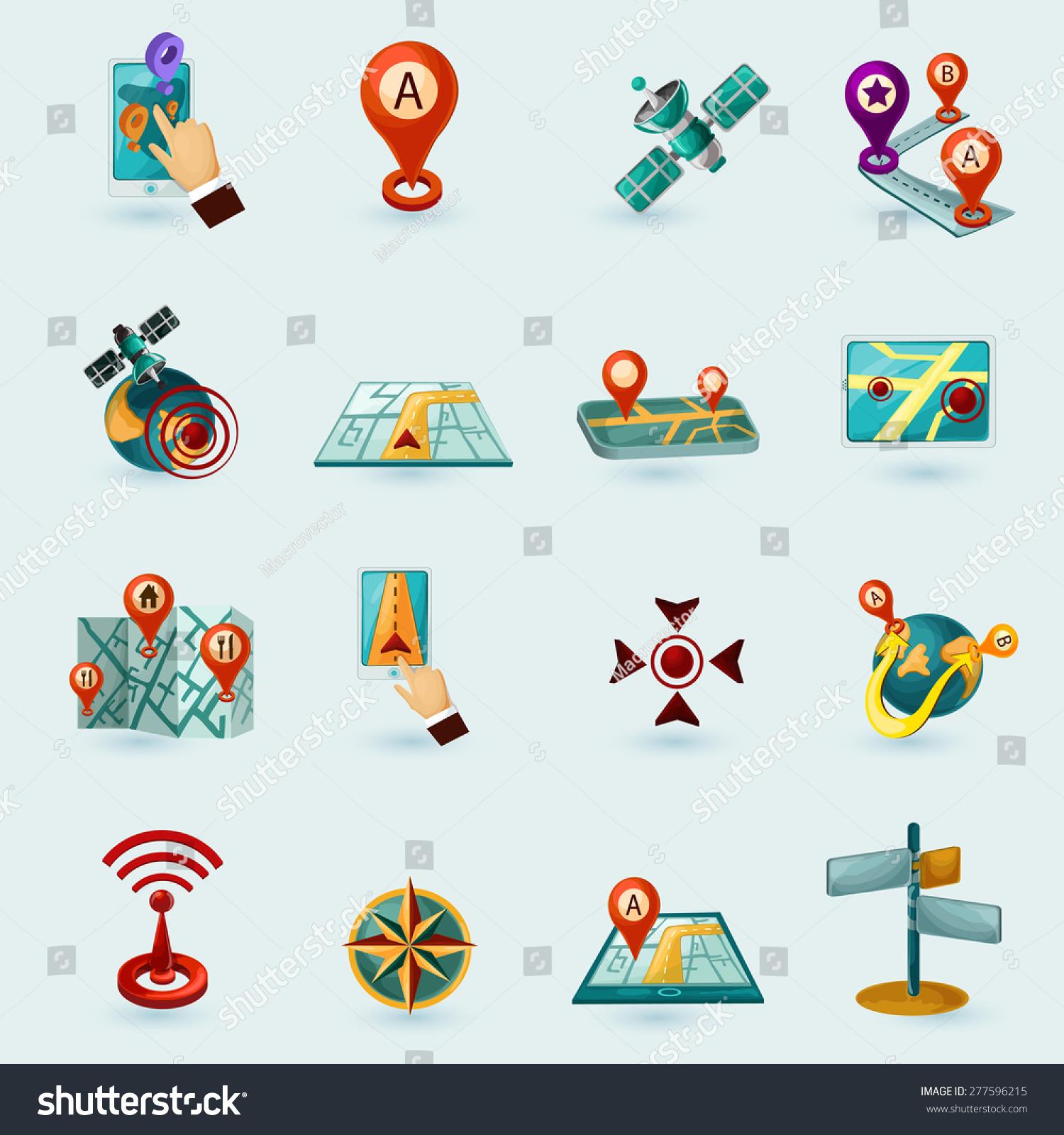 Navigation Cartoon Icons Set Mobile Gadgets Vector 277596215 – Road Navigation Map