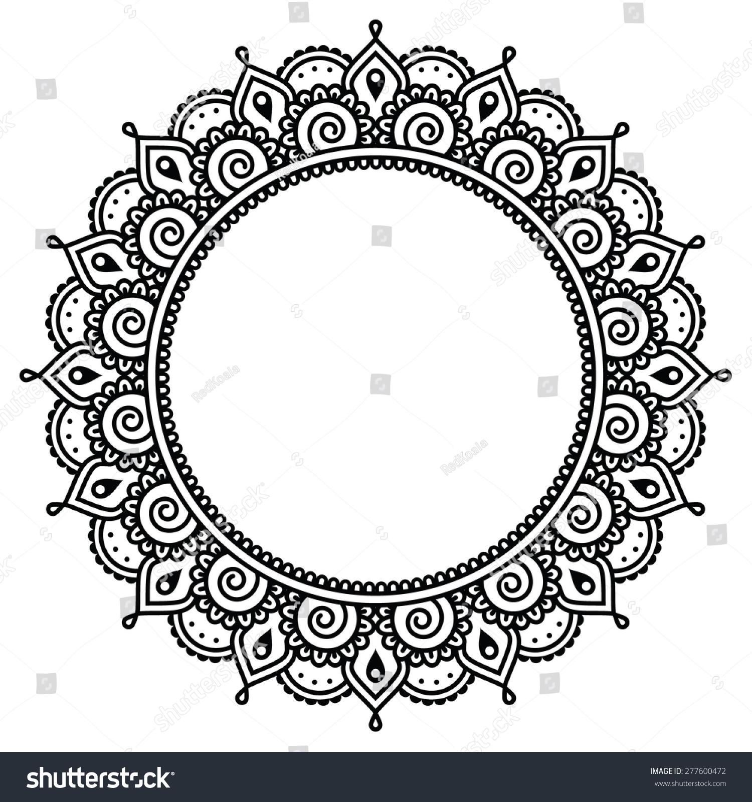 Mehndi Indian Henna Tattoo Round Pattern Stock Vector Royalty Free