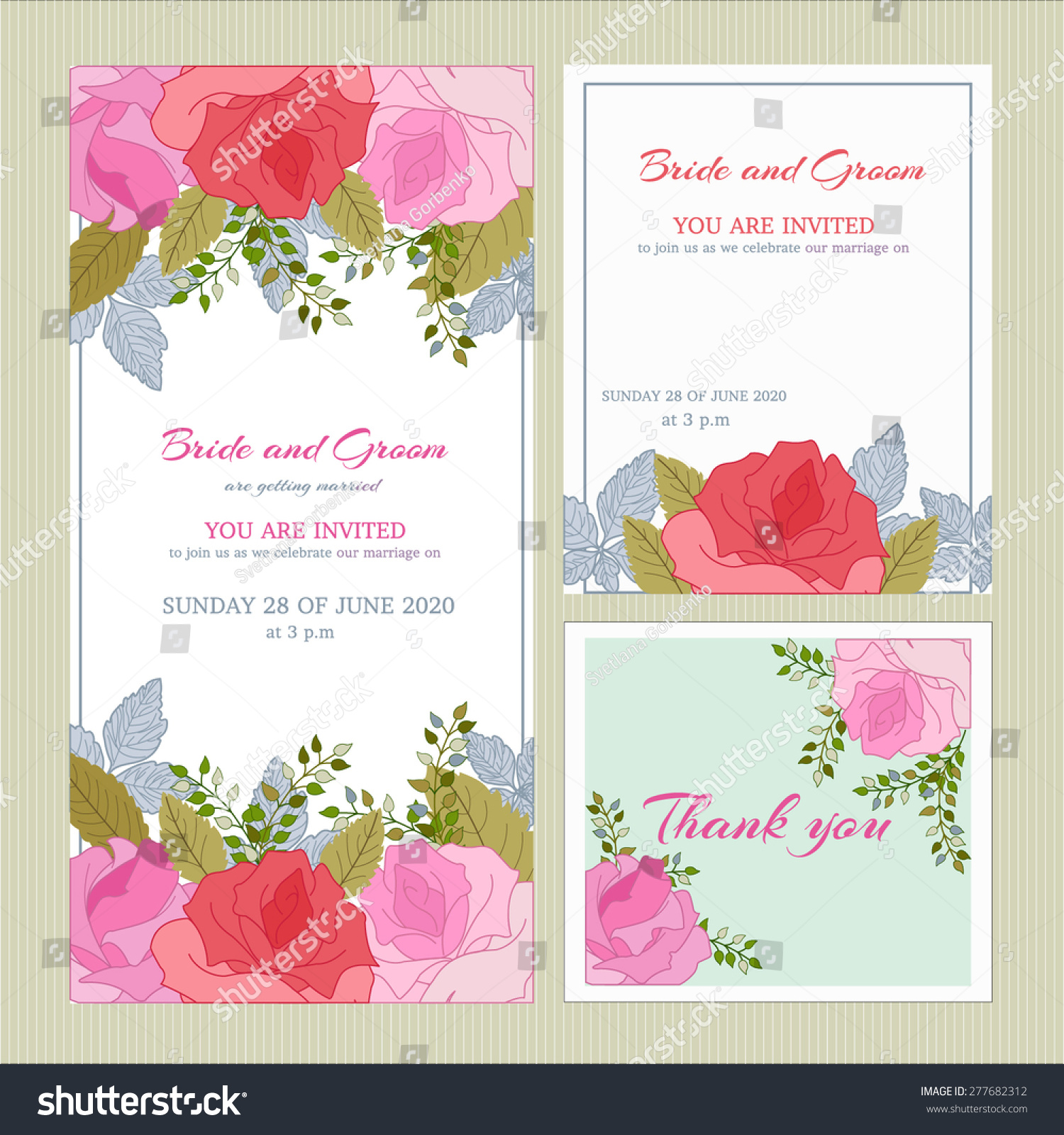 Vector Set Wedding Invitation Cards Congratulations Stock Vector ...