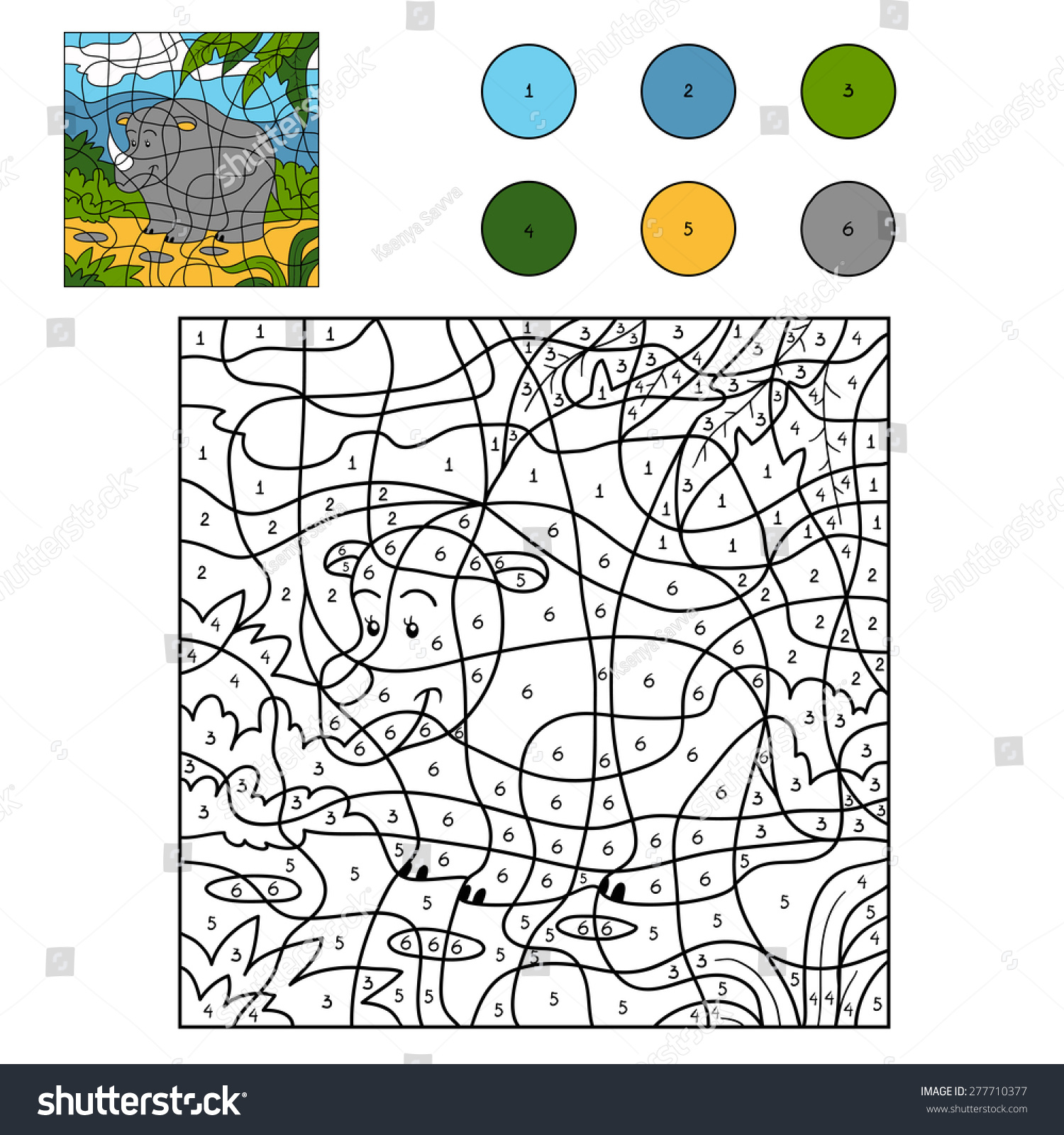 The zoology coloring book - Color By Number Rhino