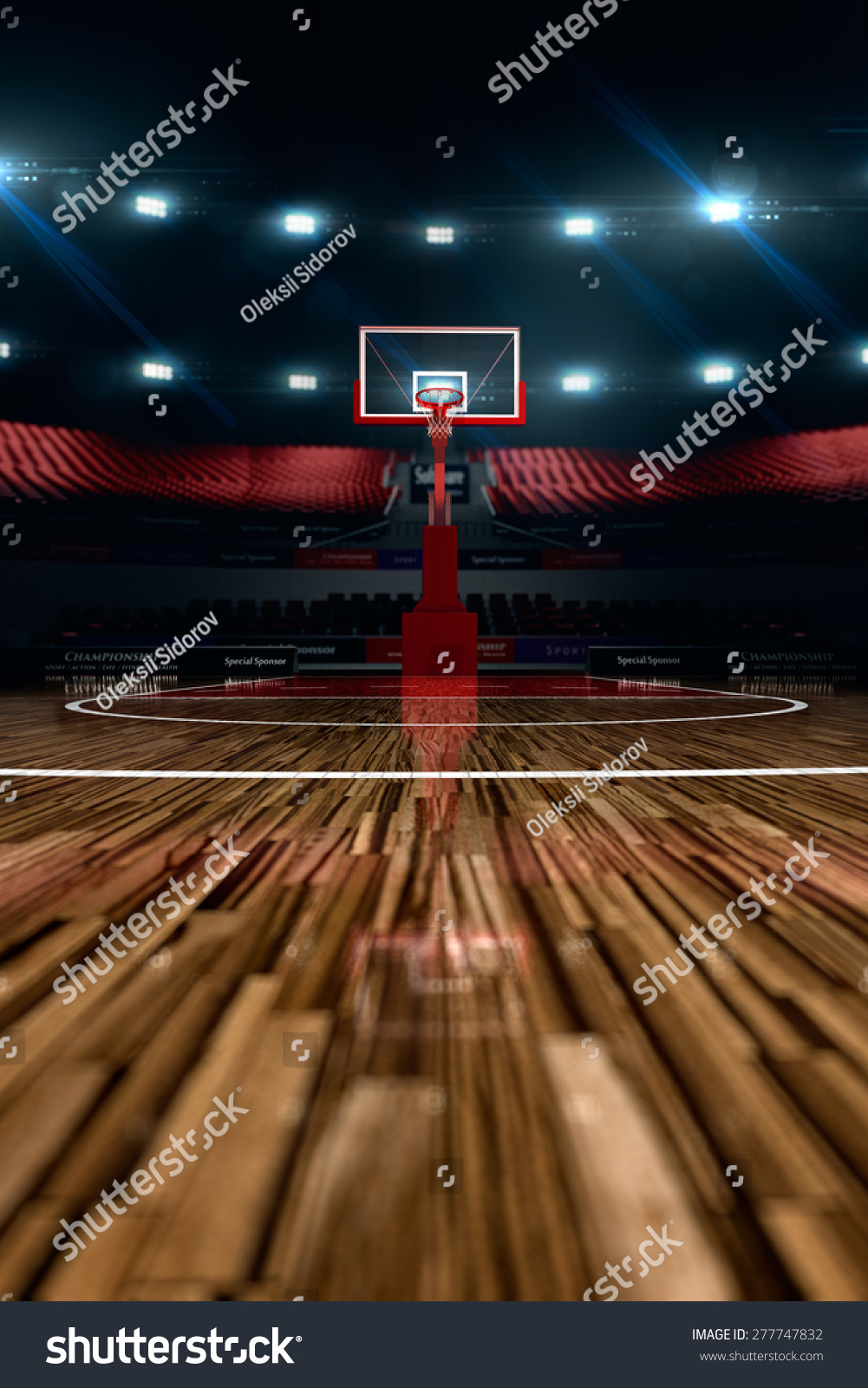 Basketball Court Sport Arena 3d Render Stock Illustration
