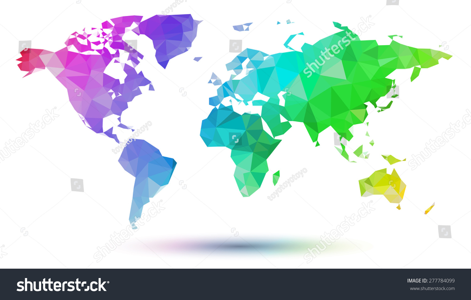Cubism Rainbow World Map Stock Vector Royalty Free 277784099