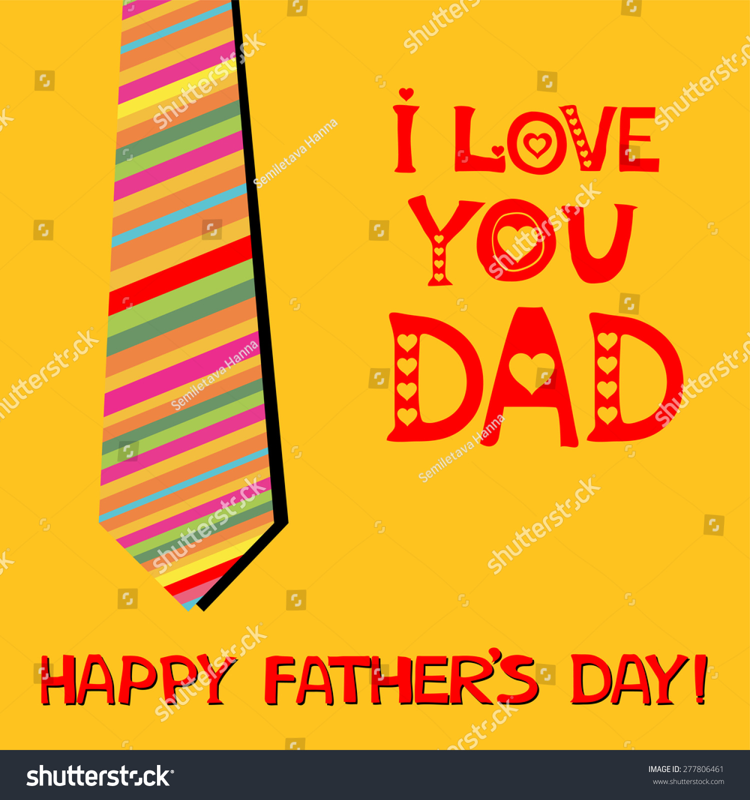Love You Dad Greeting Card Happy Stock Vector 277806461 Shutterstock