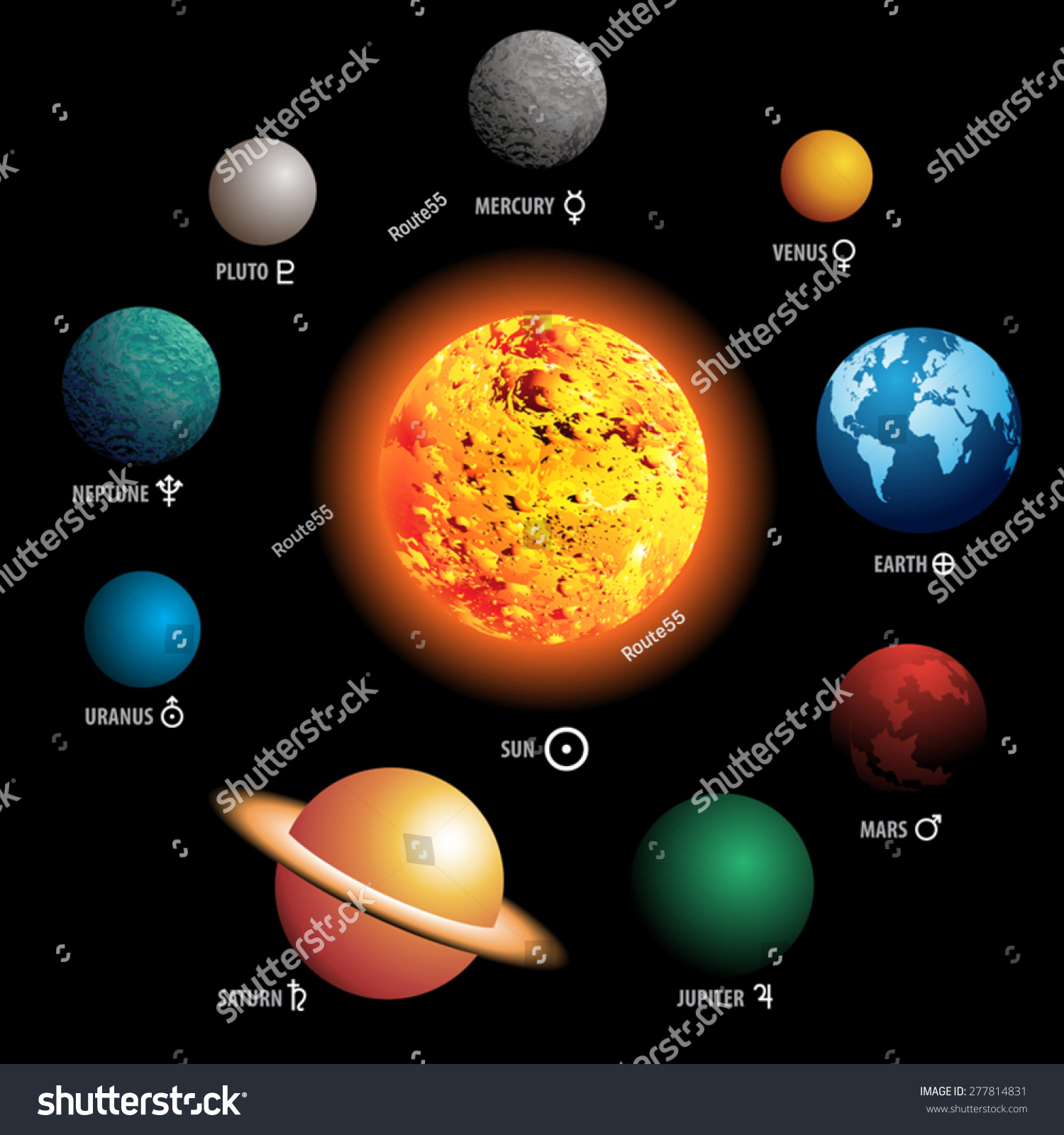 Vector Illustration Planets Our Solar System Stock Vector ...