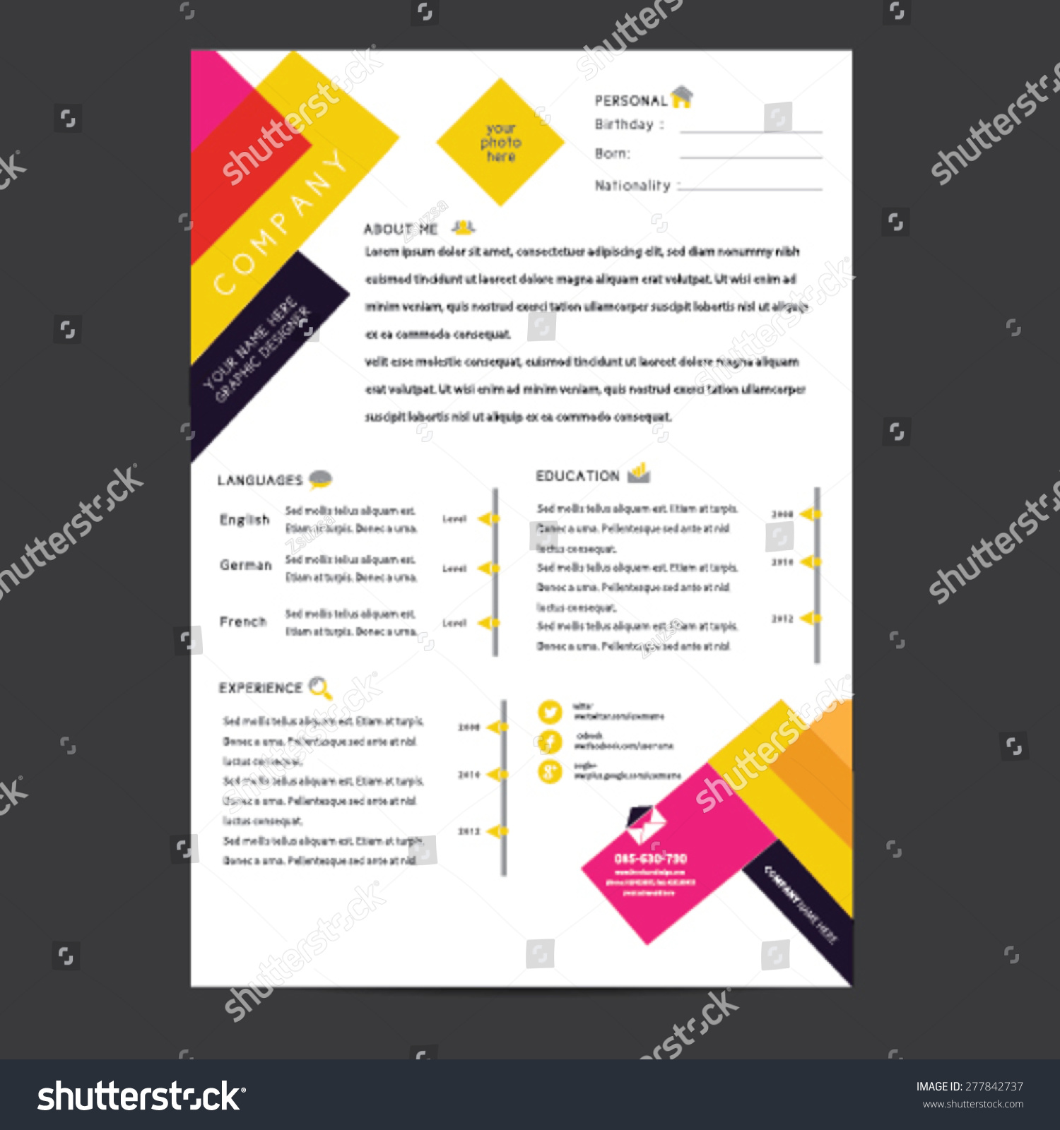 cv resume template vector - Cv Design Templates Vector