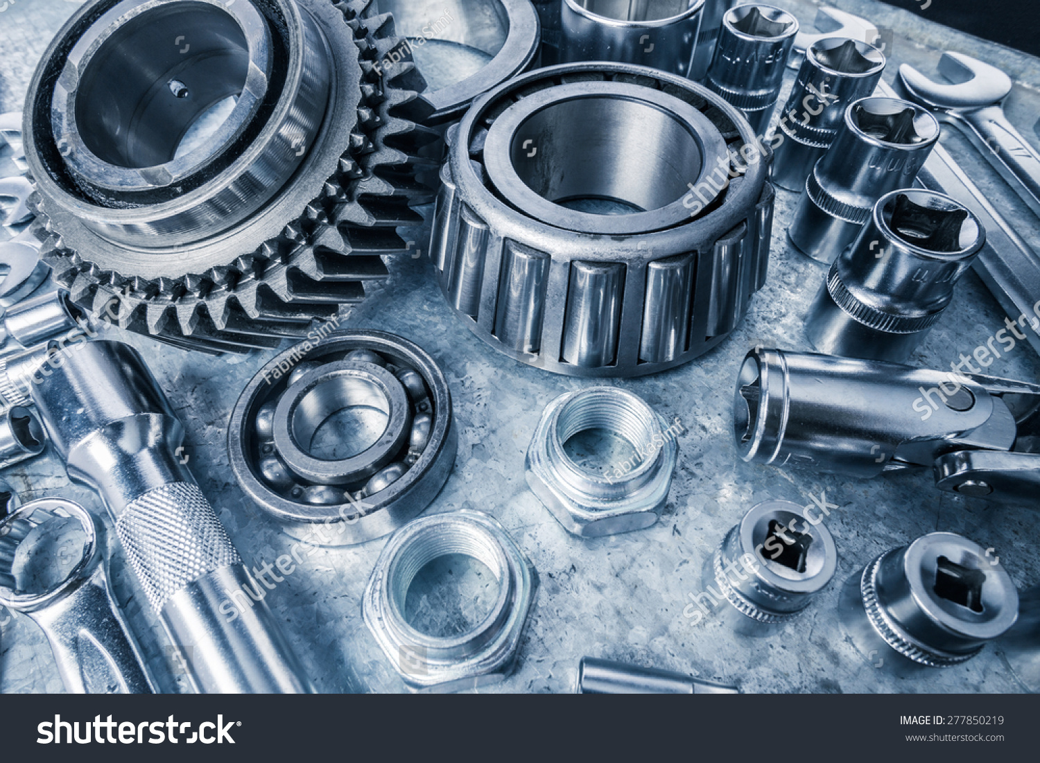 Car Engine Parts On Metal Background Stock Photo (Royalty Free ...