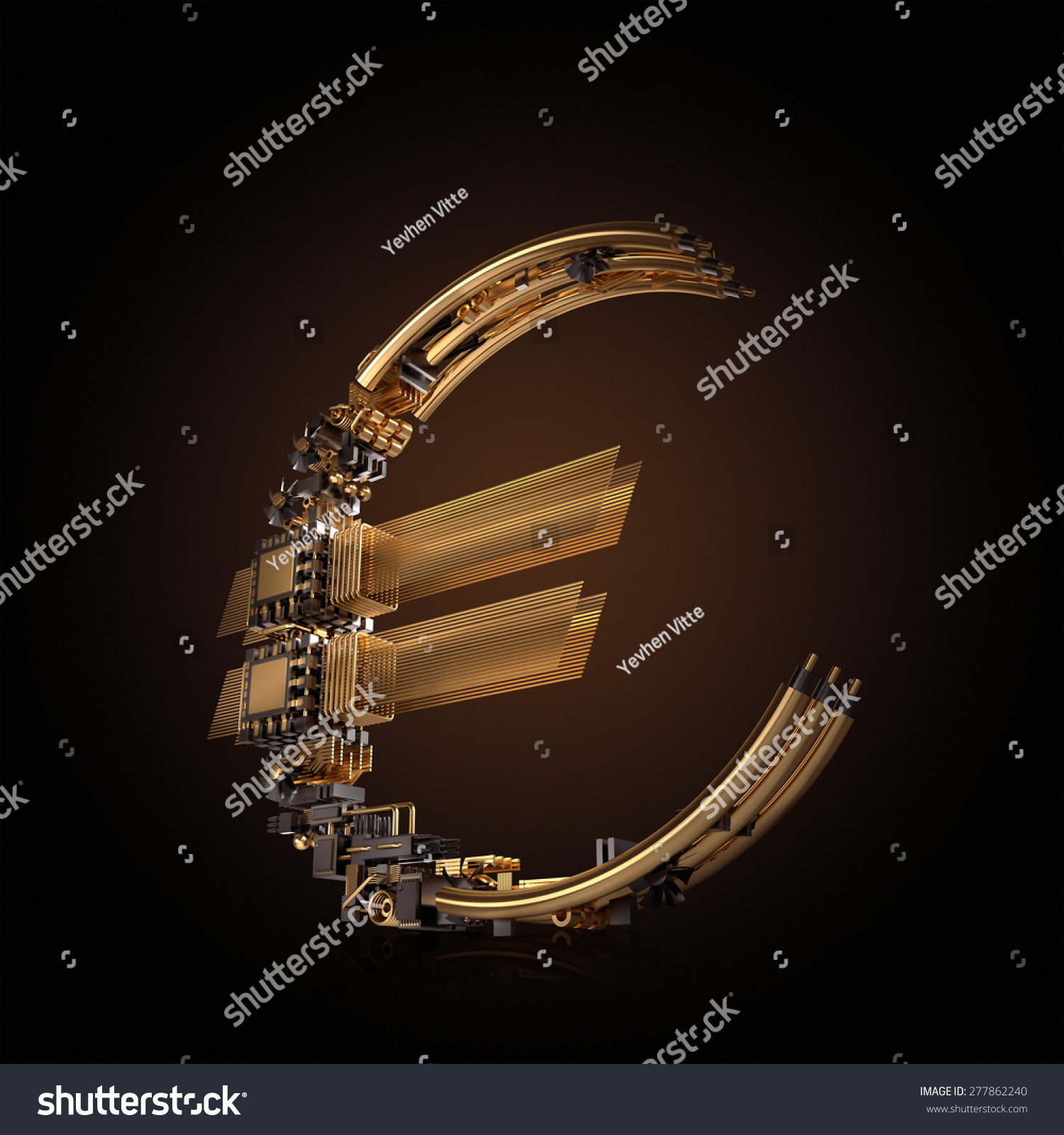 Business concept euro currency symbol microchips stock illustration euro currency symbol of microchips on black background high resolution biocorpaavc Images