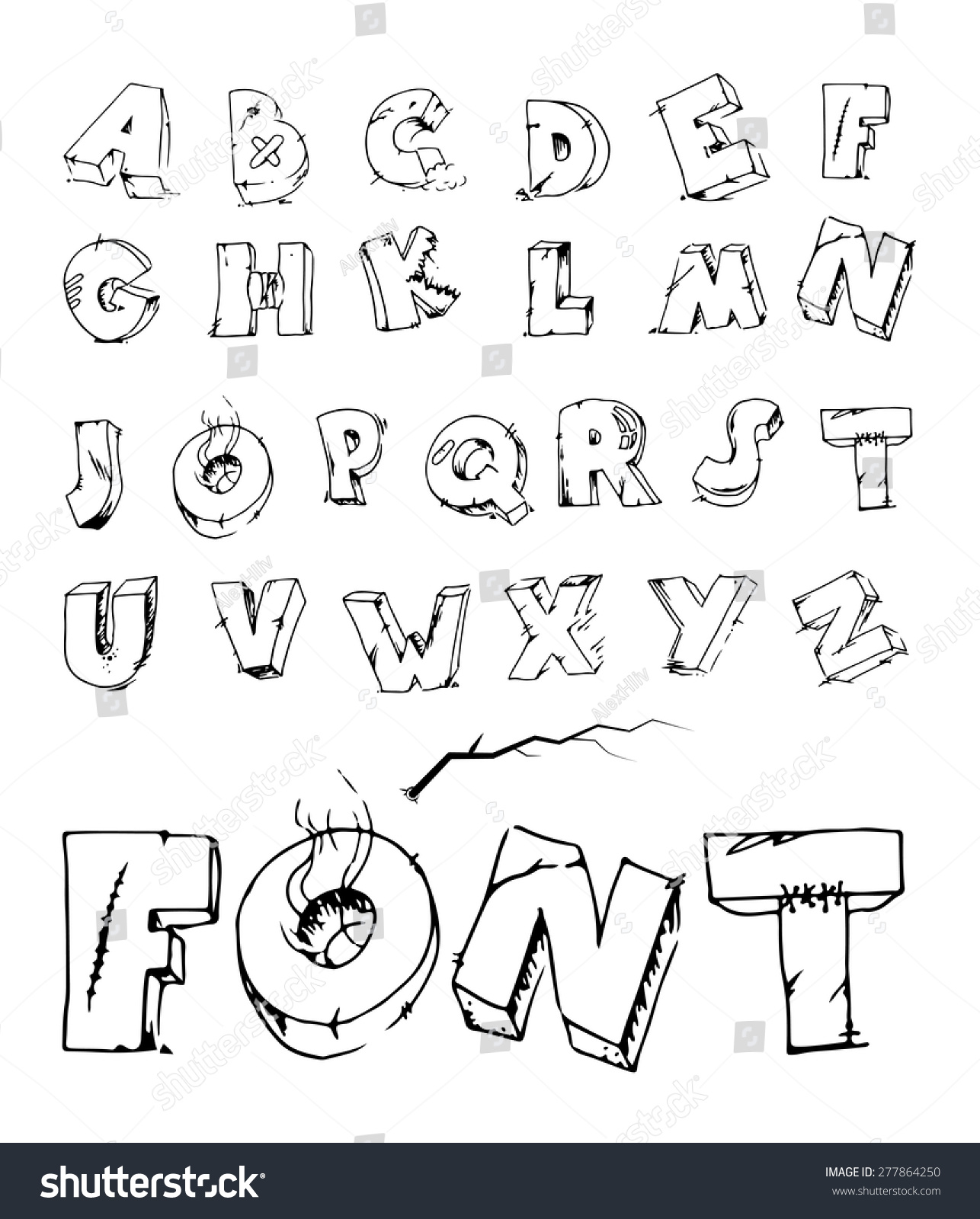Cracked Alphabet Hand Draw Letters Vector Stock Vector Royalty Free