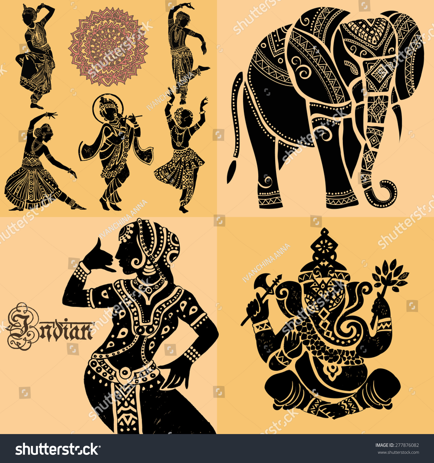 Set ornamental indian elements symbolsindian woman stock vector set of ornamental indian elements and symbolsdian woman elephant mask biocorpaavc Image collections