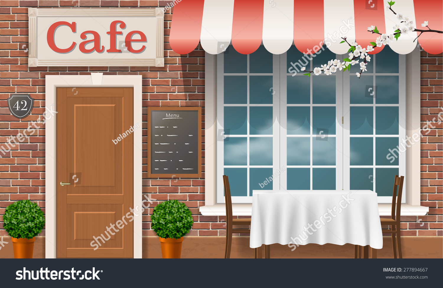 Facade of a traditional cafe with a window door awnings. & Facade Traditional Cafe Window Door Awnings Stock Photo (Photo ...